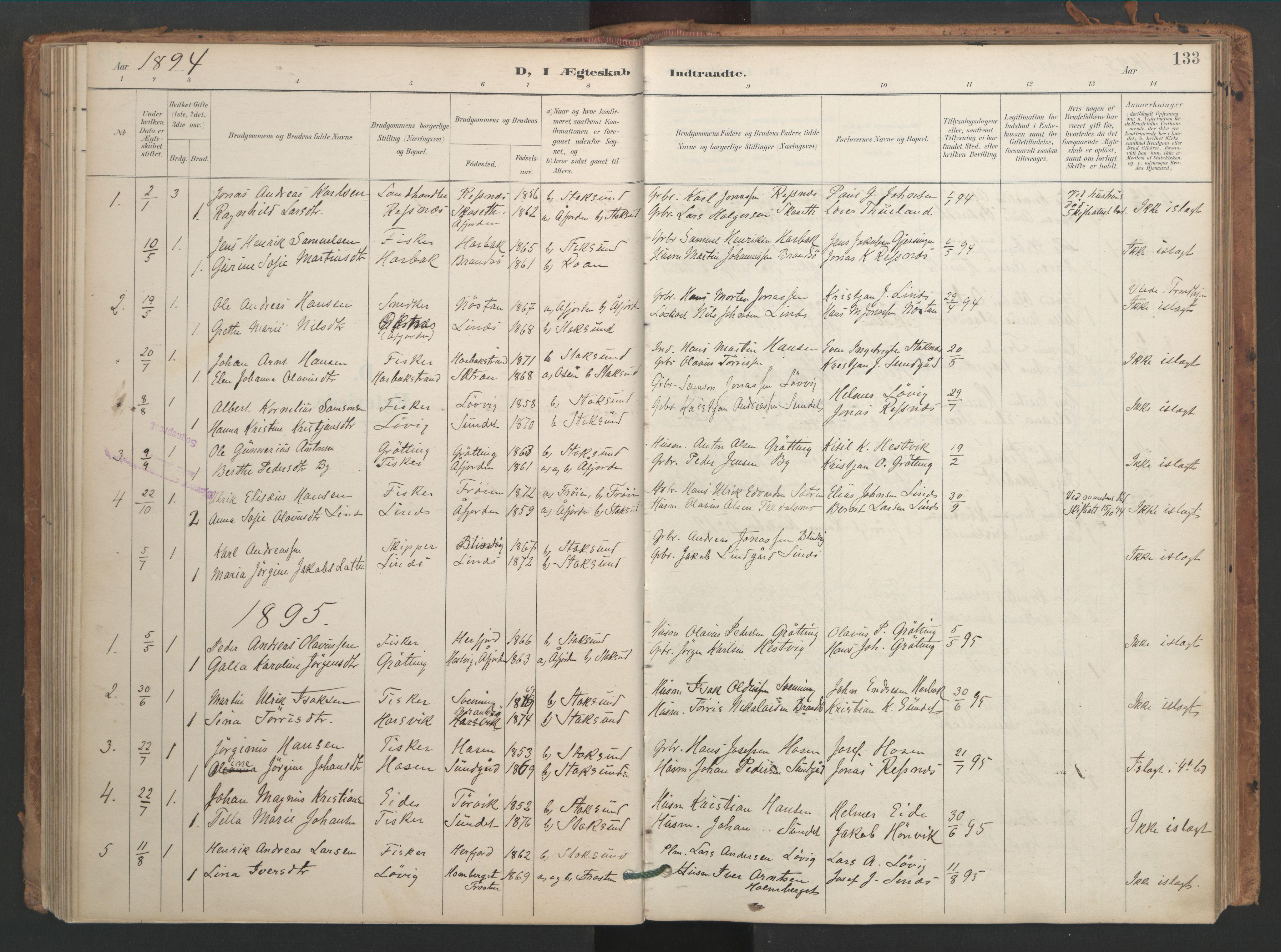 SAT, Ministerialprotokoller, klokkerbøker og fødselsregistre - Sør-Trøndelag, 656/L0693: Ministerialbok nr. 656A02, 1894-1913, s. 133