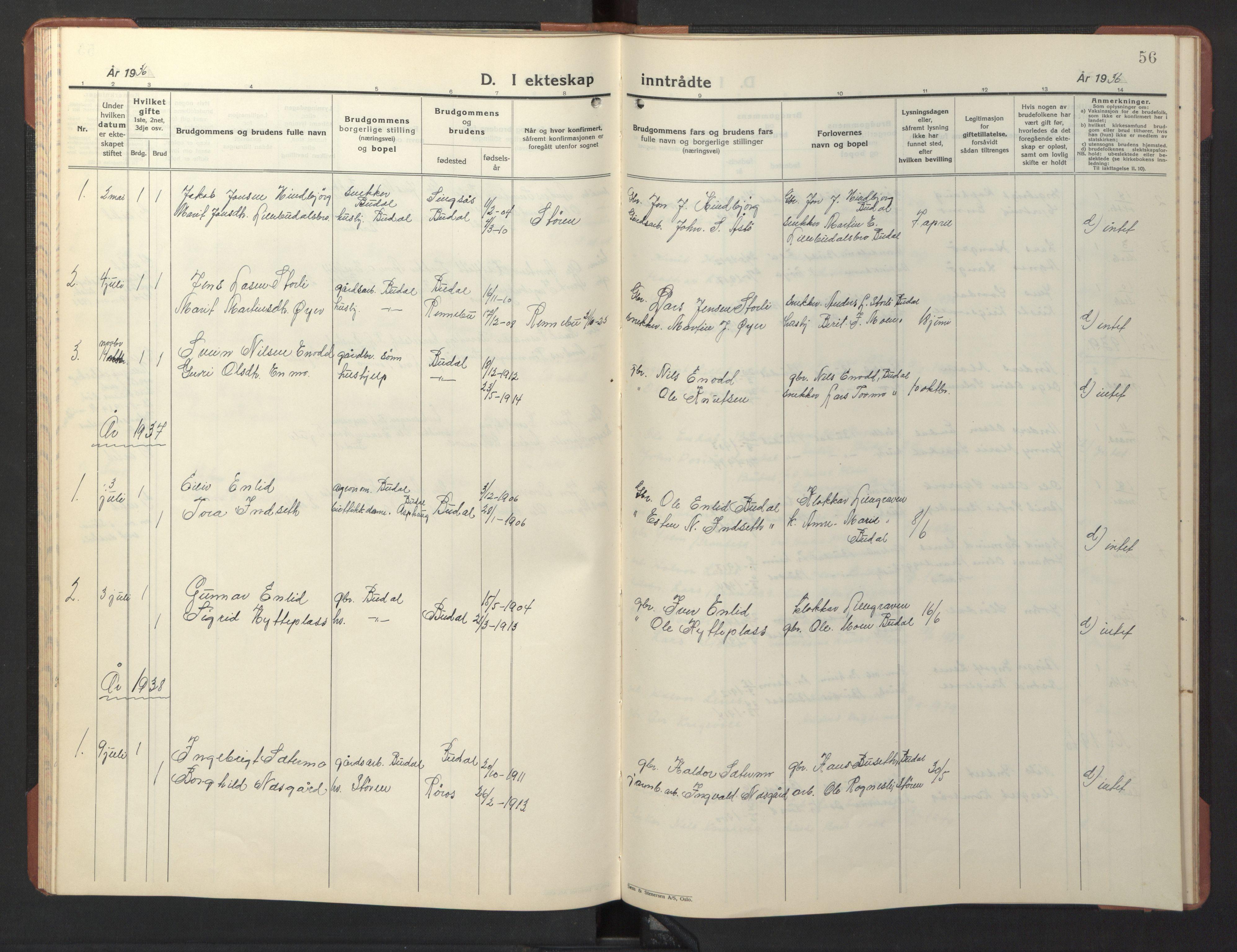 SAT, Ministerialprotokoller, klokkerbøker og fødselsregistre - Sør-Trøndelag, 690/L1053: Klokkerbok nr. 690C03, 1930-1947, s. 56