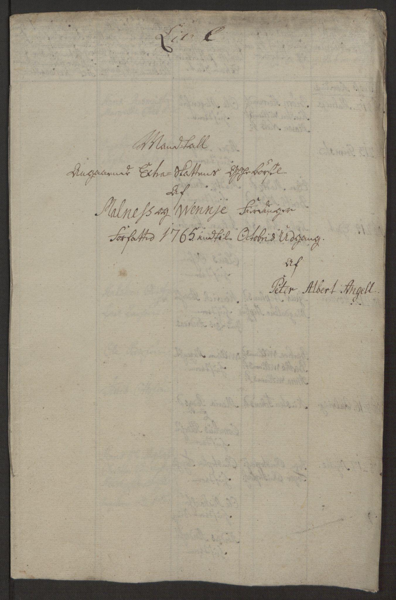 RA, Rentekammeret inntil 1814, Realistisk ordnet avdeling, Ol/L0022a: [Gg 10]: Ekstraskatten, 23.09.1762. Nordlands amt, 1763-1769, s. 112