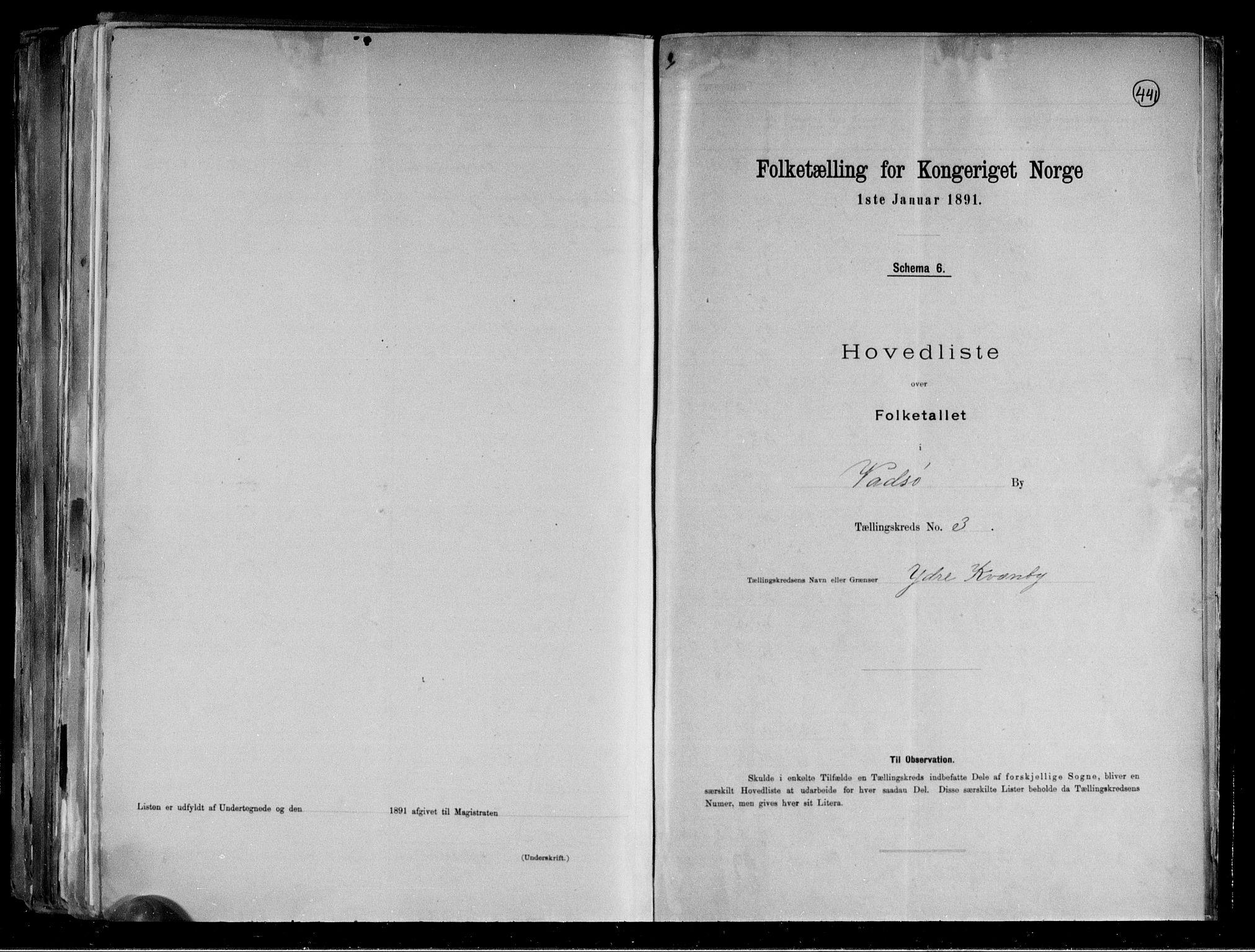 RA, Folketelling 1891 for 2003 Vadsø kjøpstad, 1891, s. 19