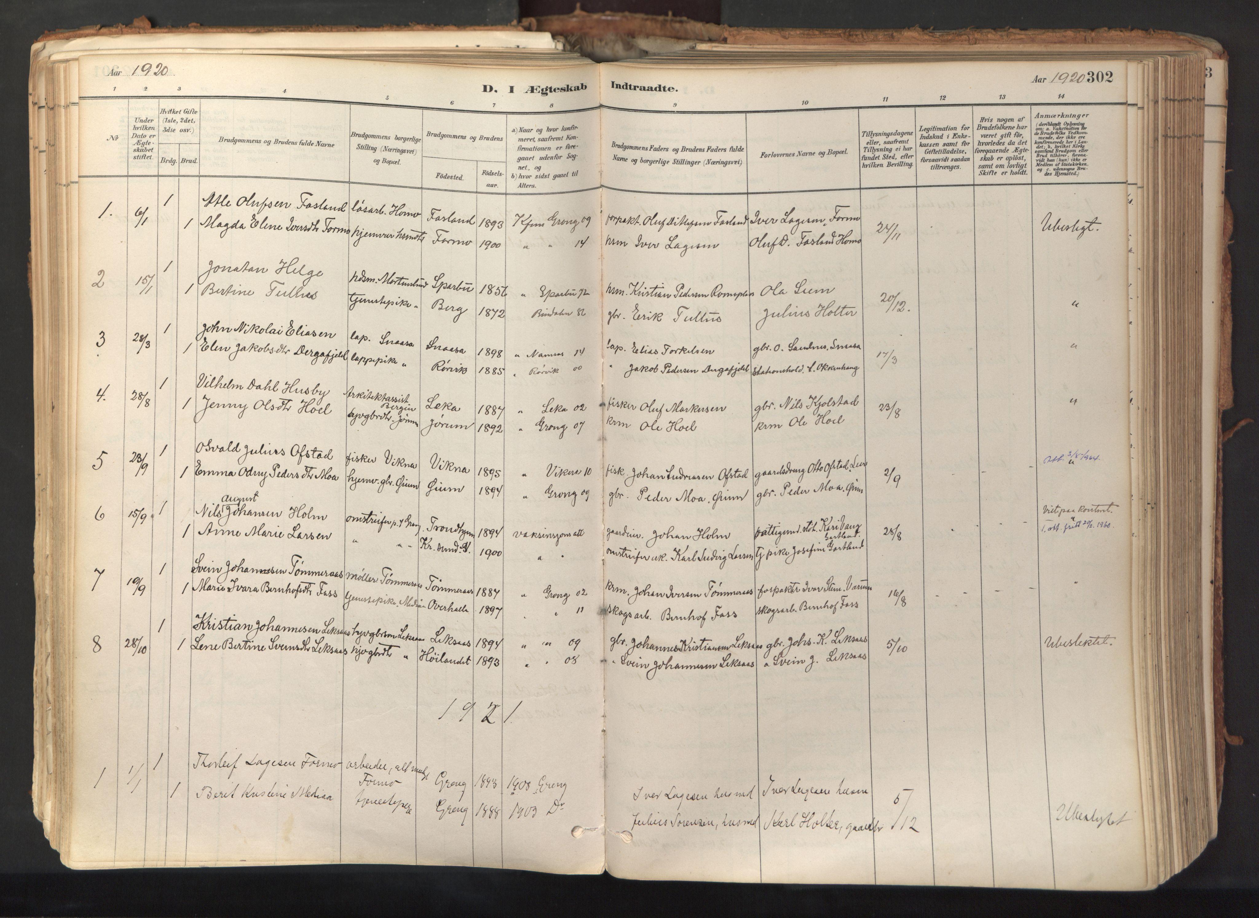 SAT, Ministerialprotokoller, klokkerbøker og fødselsregistre - Nord-Trøndelag, 758/L0519: Ministerialbok nr. 758A04, 1880-1926, s. 302