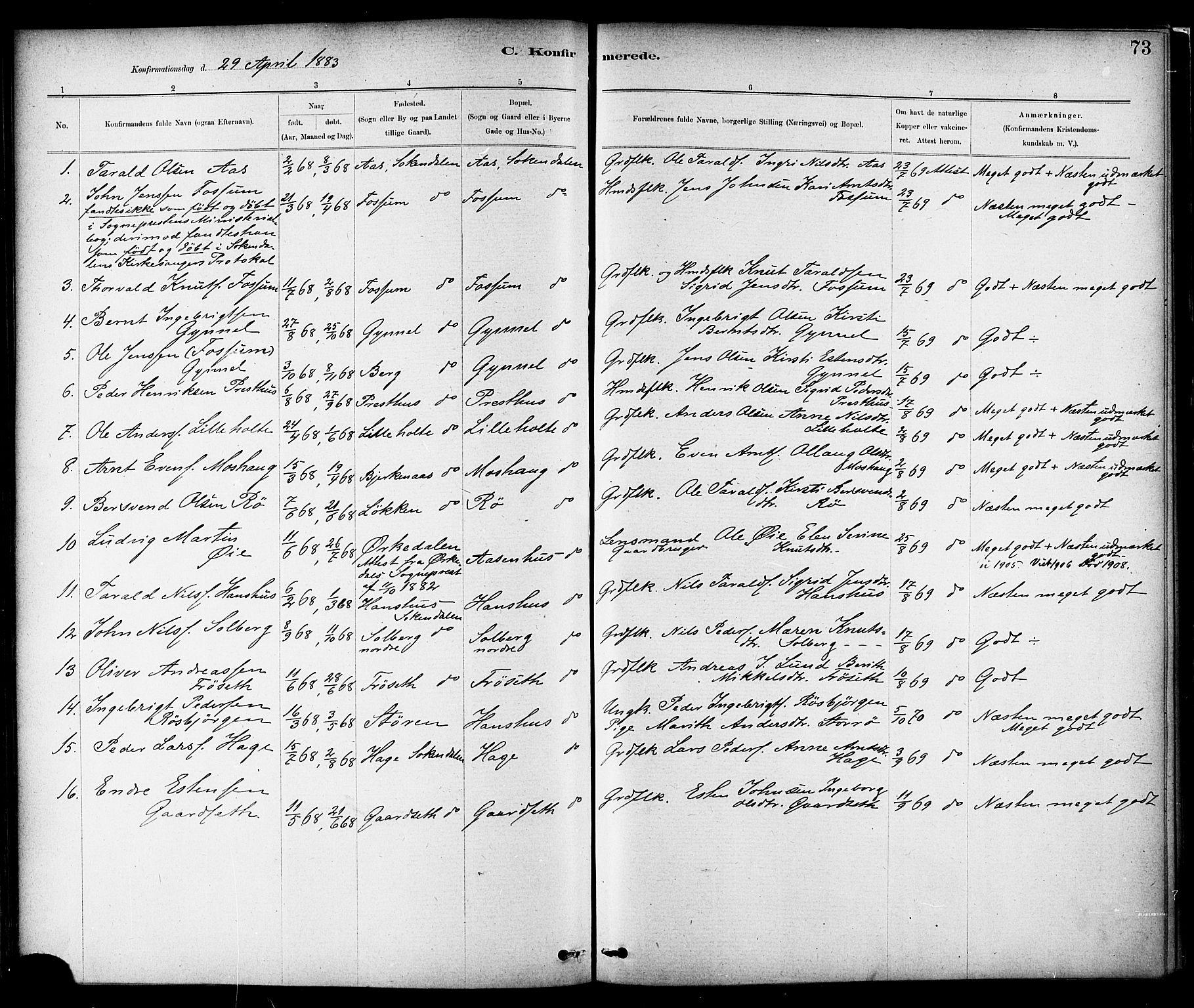 SAT, Ministerialprotokoller, klokkerbøker og fødselsregistre - Sør-Trøndelag, 689/L1040: Ministerialbok nr. 689A05, 1878-1890, s. 73