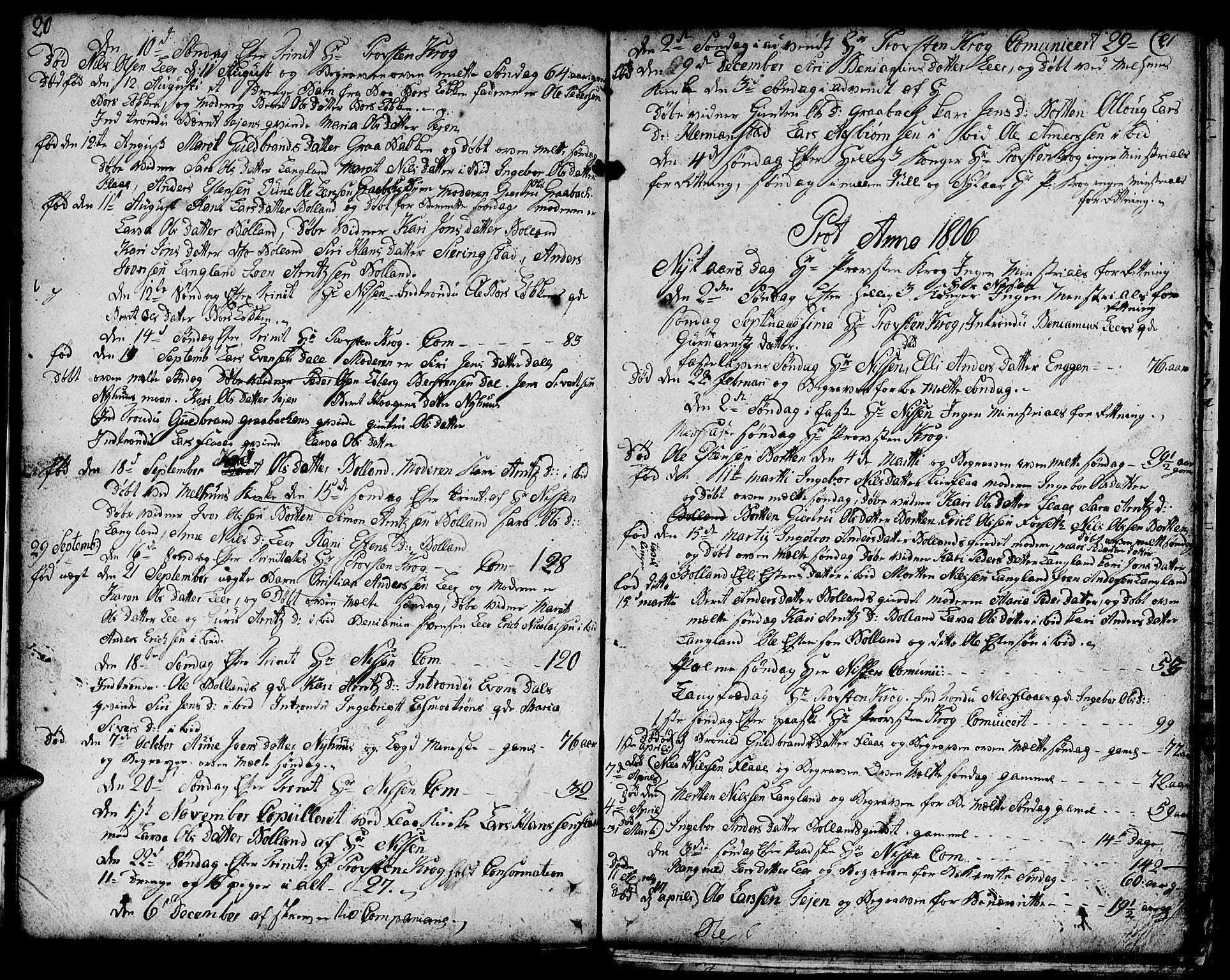 SAT, Ministerialprotokoller, klokkerbøker og fødselsregistre - Sør-Trøndelag, 693/L1120: Klokkerbok nr. 693C01, 1799-1816, s. 20-21