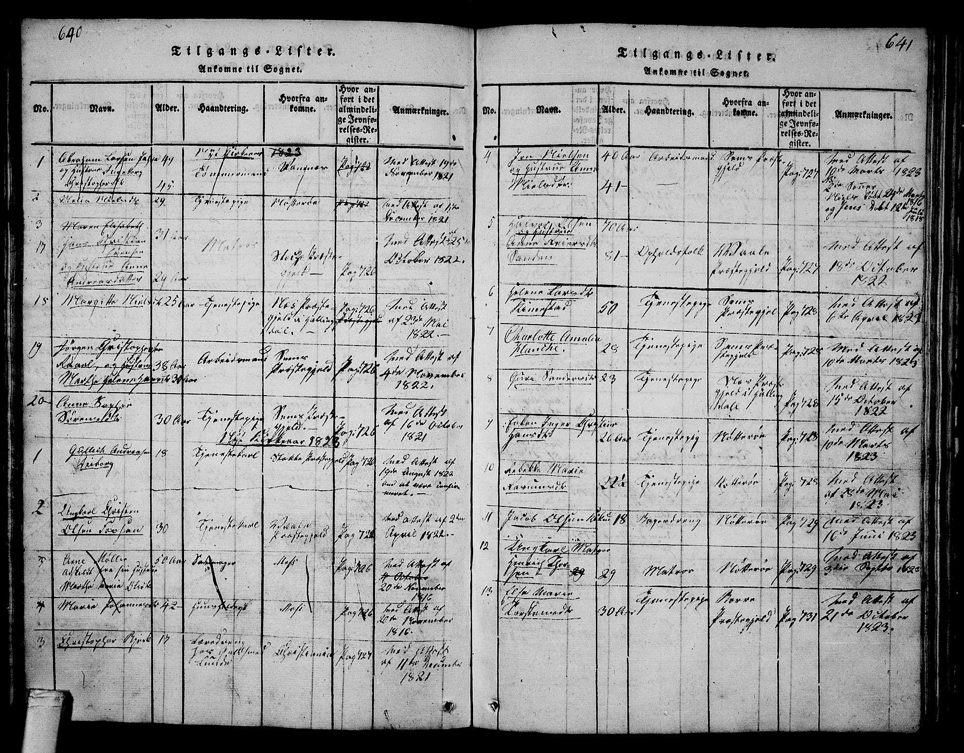 SAKO, Tønsberg kirkebøker, G/Ga/L0001: Klokkerbok nr. 1, 1813-1826, s. 640-641