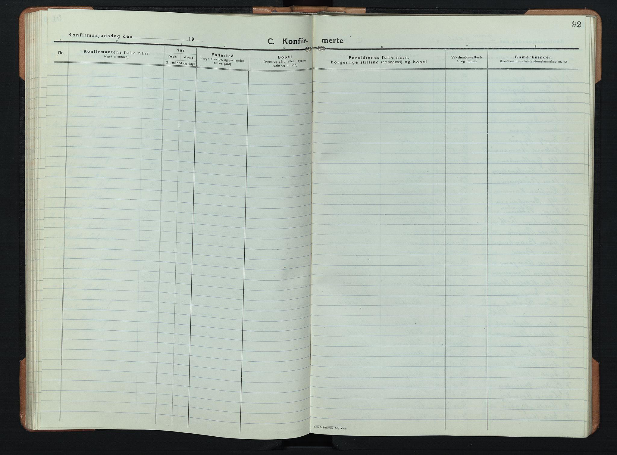 SAH, Søndre Land prestekontor, L/L0008: Klokkerbok nr. 8, 1926-1950, s. 92