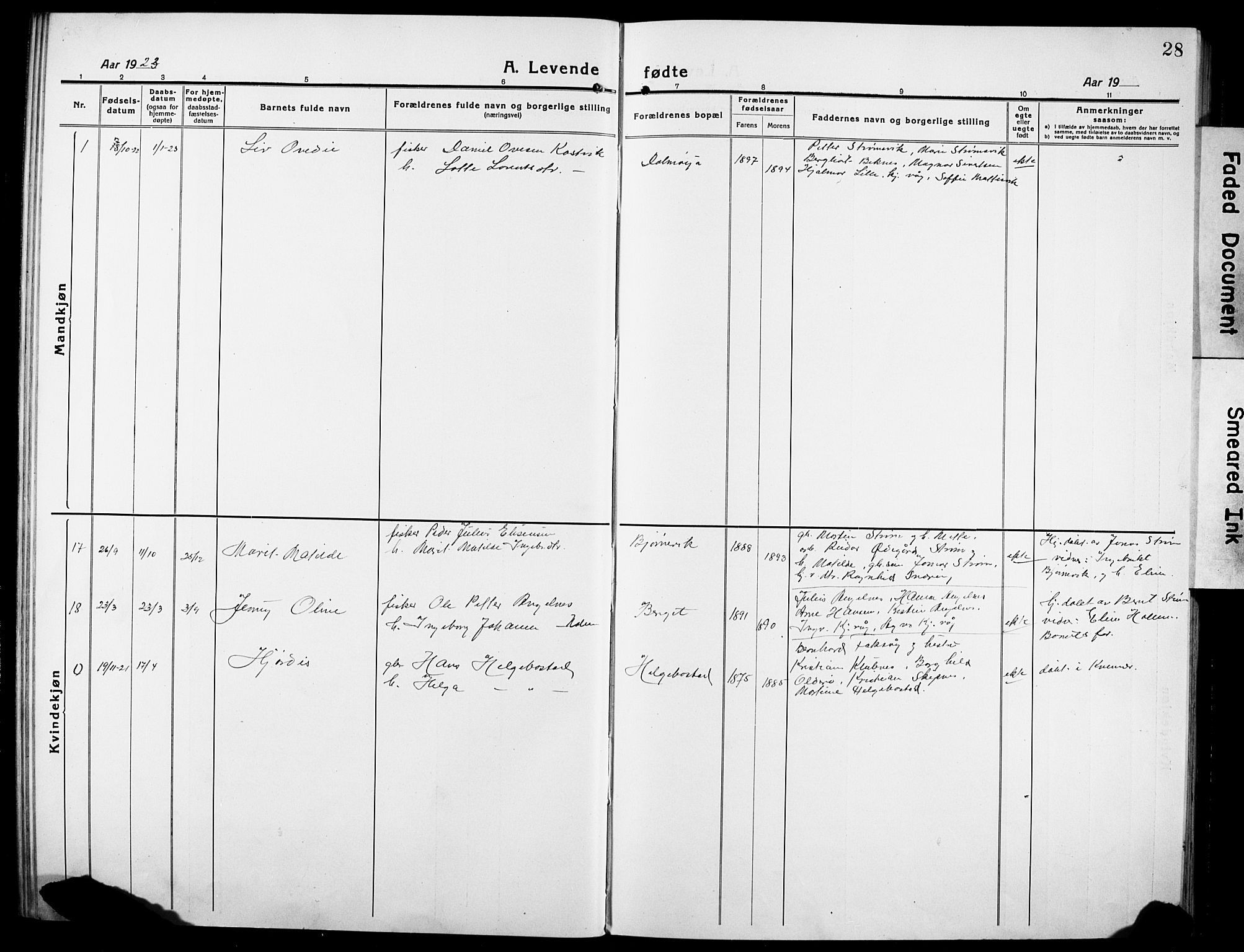 SAT, Ministerialprotokoller, klokkerbøker og fødselsregistre - Sør-Trøndelag, 634/L0543: Klokkerbok nr. 634C05, 1917-1928, s. 28
