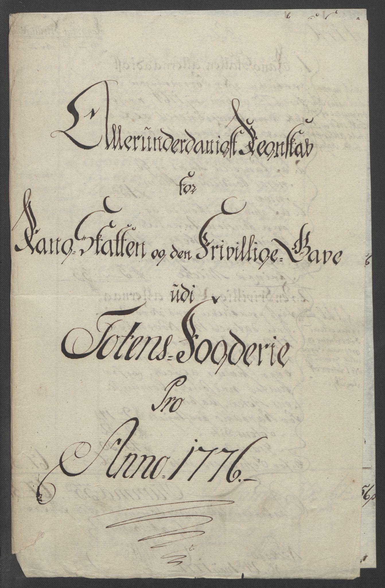RA, Rentekammeret inntil 1814, Reviderte regnskaper, Fogderegnskap, R19/L1399: Fogderegnskap Toten, Hadeland og Vardal, 1762-1783, s. 407