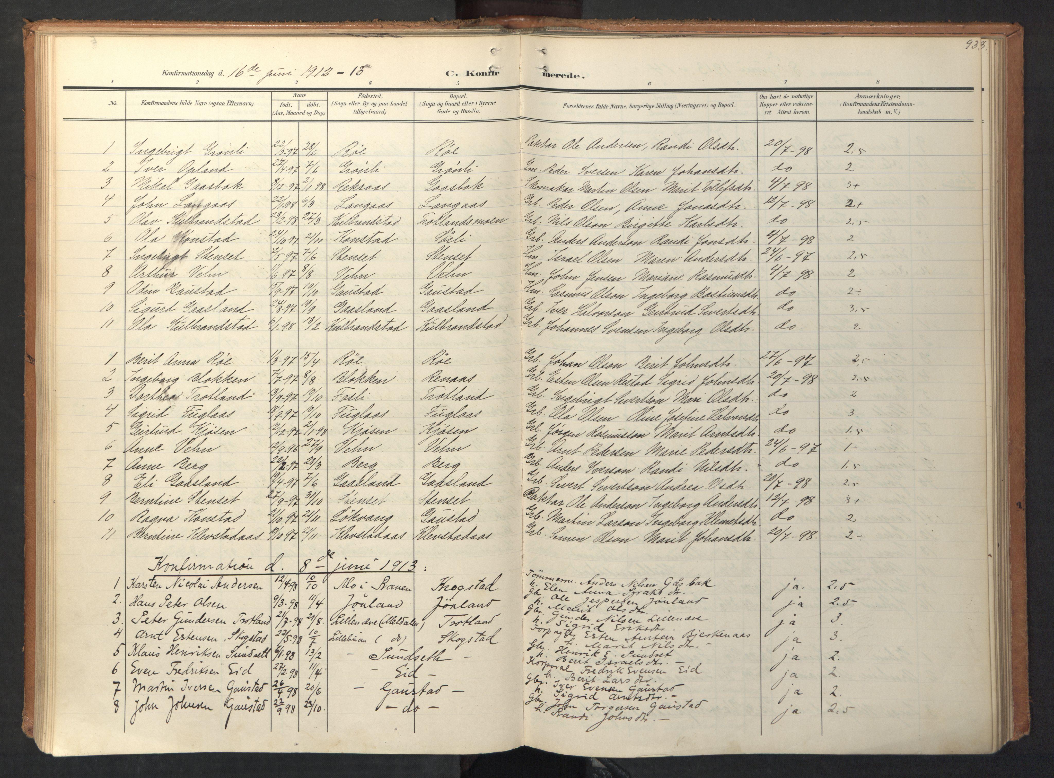 SAT, Ministerialprotokoller, klokkerbøker og fødselsregistre - Sør-Trøndelag, 694/L1128: Ministerialbok nr. 694A02, 1906-1931, s. 93