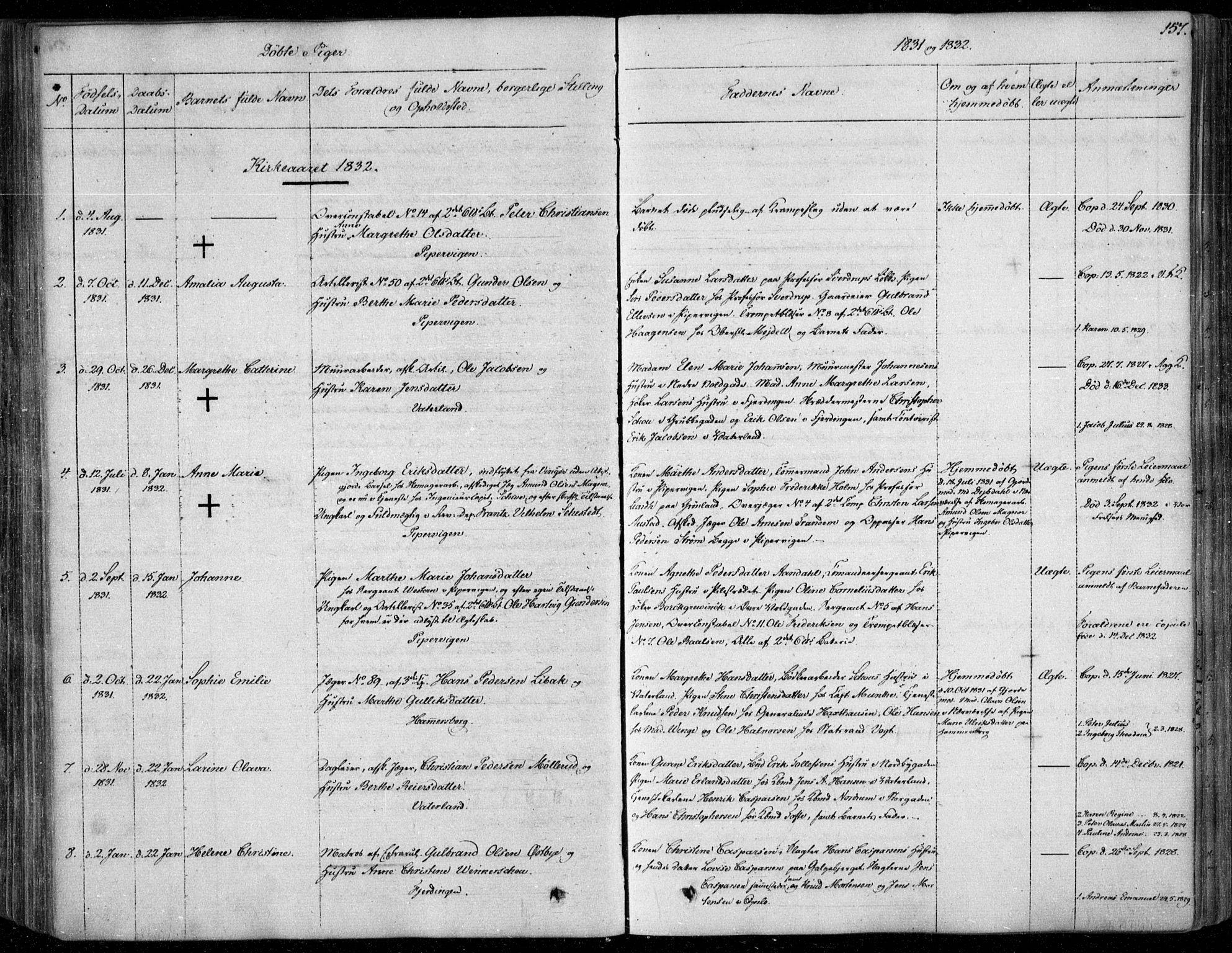 SAO, Garnisonsmenigheten Kirkebøker, F/Fa/L0006: Ministerialbok nr. 6, 1828-1841, s. 157