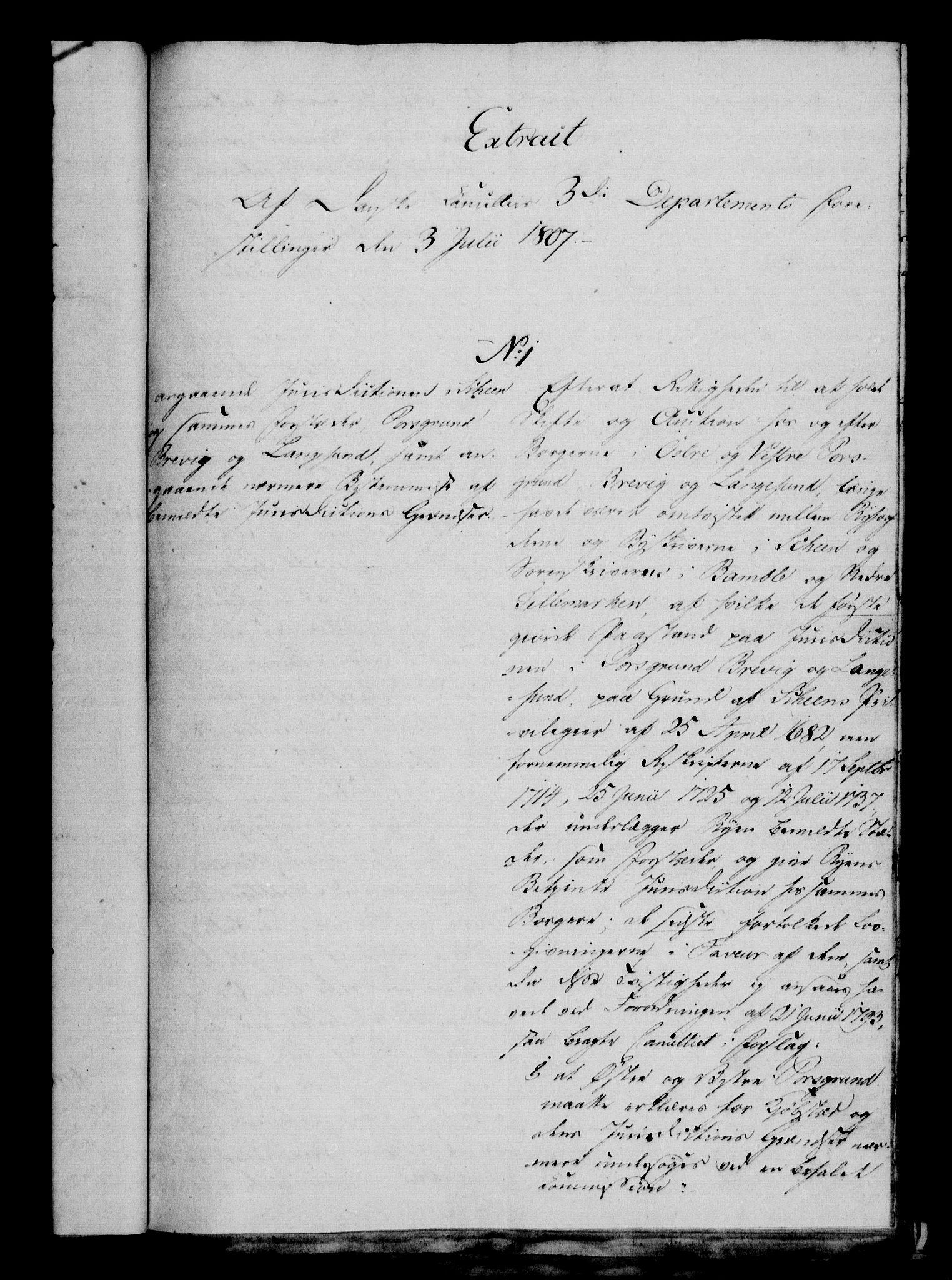 RA, Danske Kanselli 1800-1814, H/Hf/Hfa/Hfaa/L0008: Ekstrakt av forestillinger, 1807