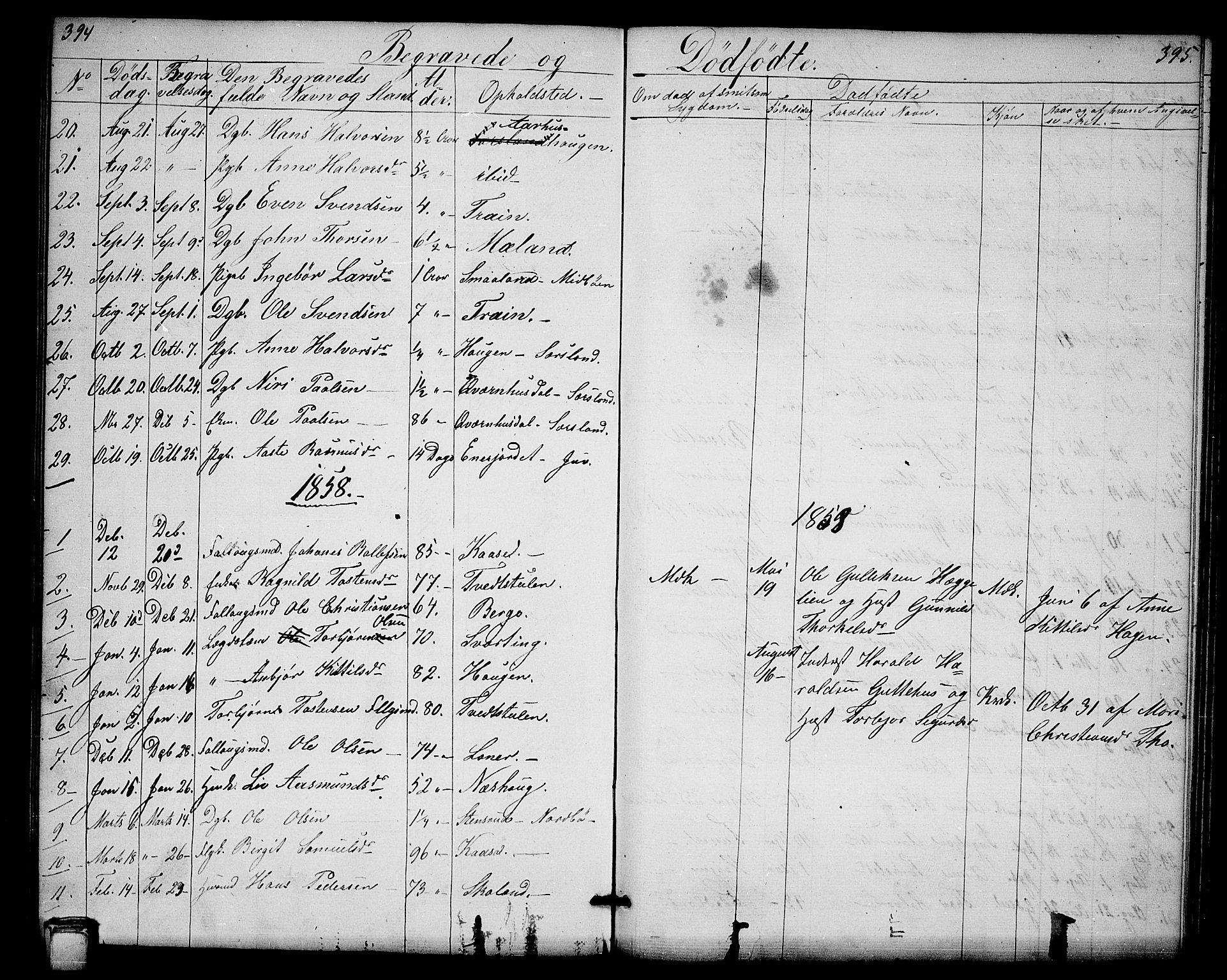 SAKO, Hjartdal kirkebøker, G/Ga/L0002: Klokkerbok nr. I 2, 1854-1888, s. 394-395