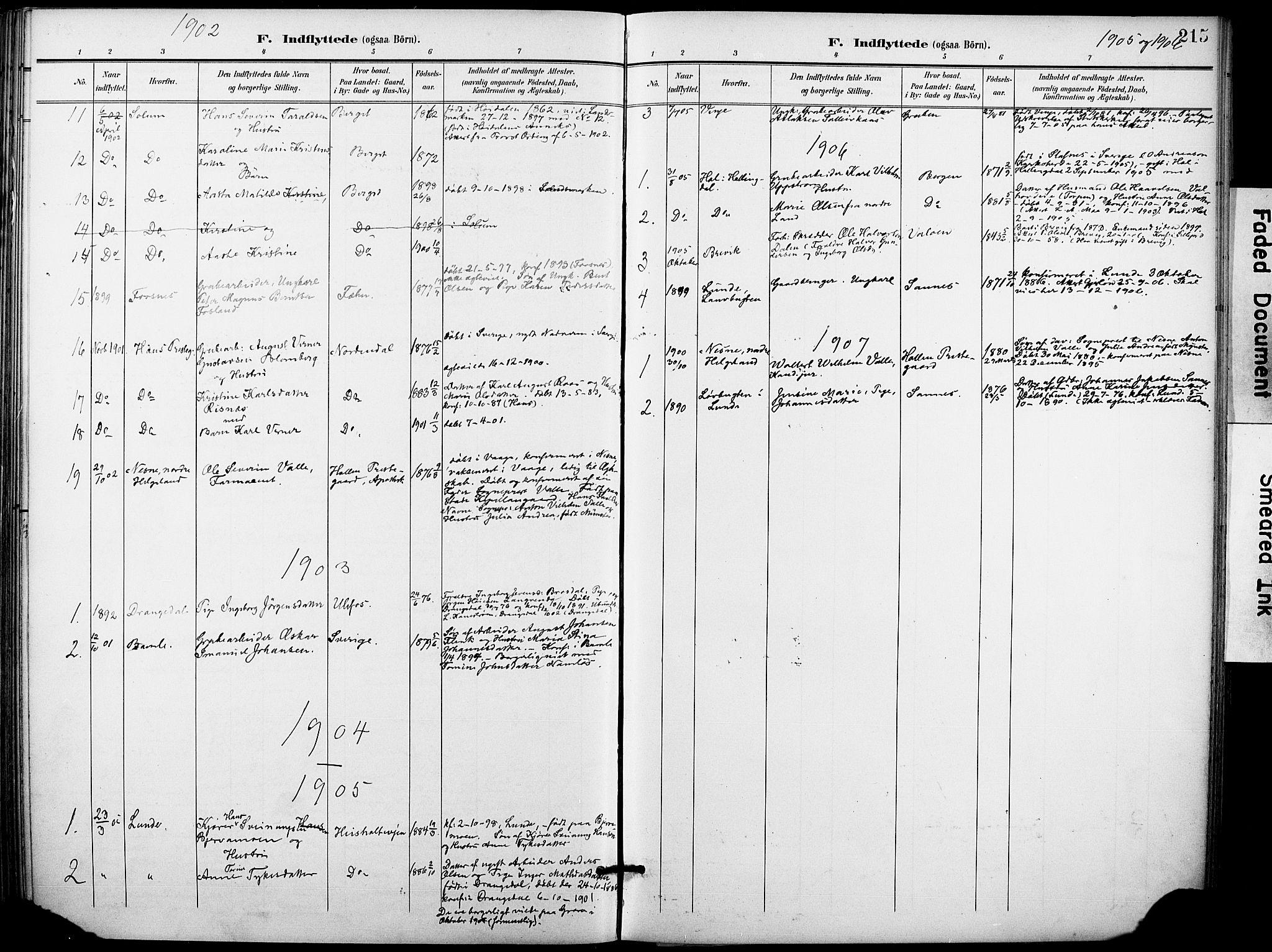 SAKO, Holla kirkebøker, F/Fa/L0010: Ministerialbok nr. 10, 1897-1907, s. 215