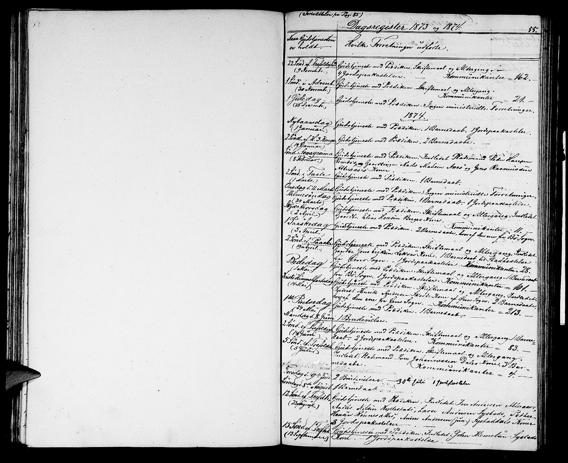 SAB, Hyllestad Sokneprestembete, Klokkerbok nr. A 1, 1853-1875, s. 55