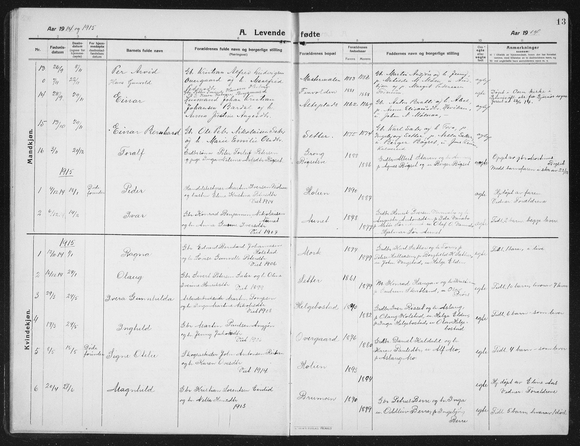 SAT, Ministerialprotokoller, klokkerbøker og fødselsregistre - Nord-Trøndelag, 742/L0413: Klokkerbok nr. 742C04, 1911-1938, s. 13