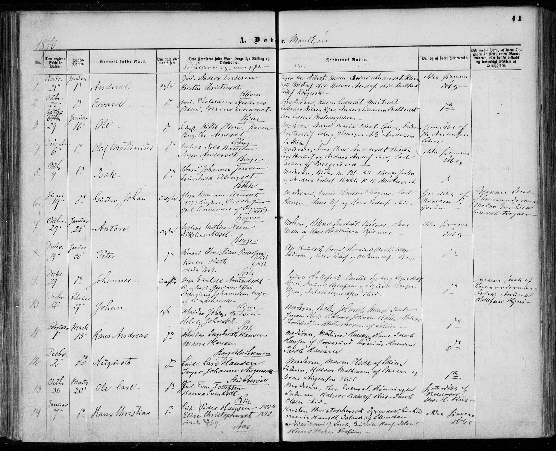 SAKO, Gjerpen kirkebøker, F/Fa/L0008a: Ministerialbok nr. 8A, 1857-1871, s. 61