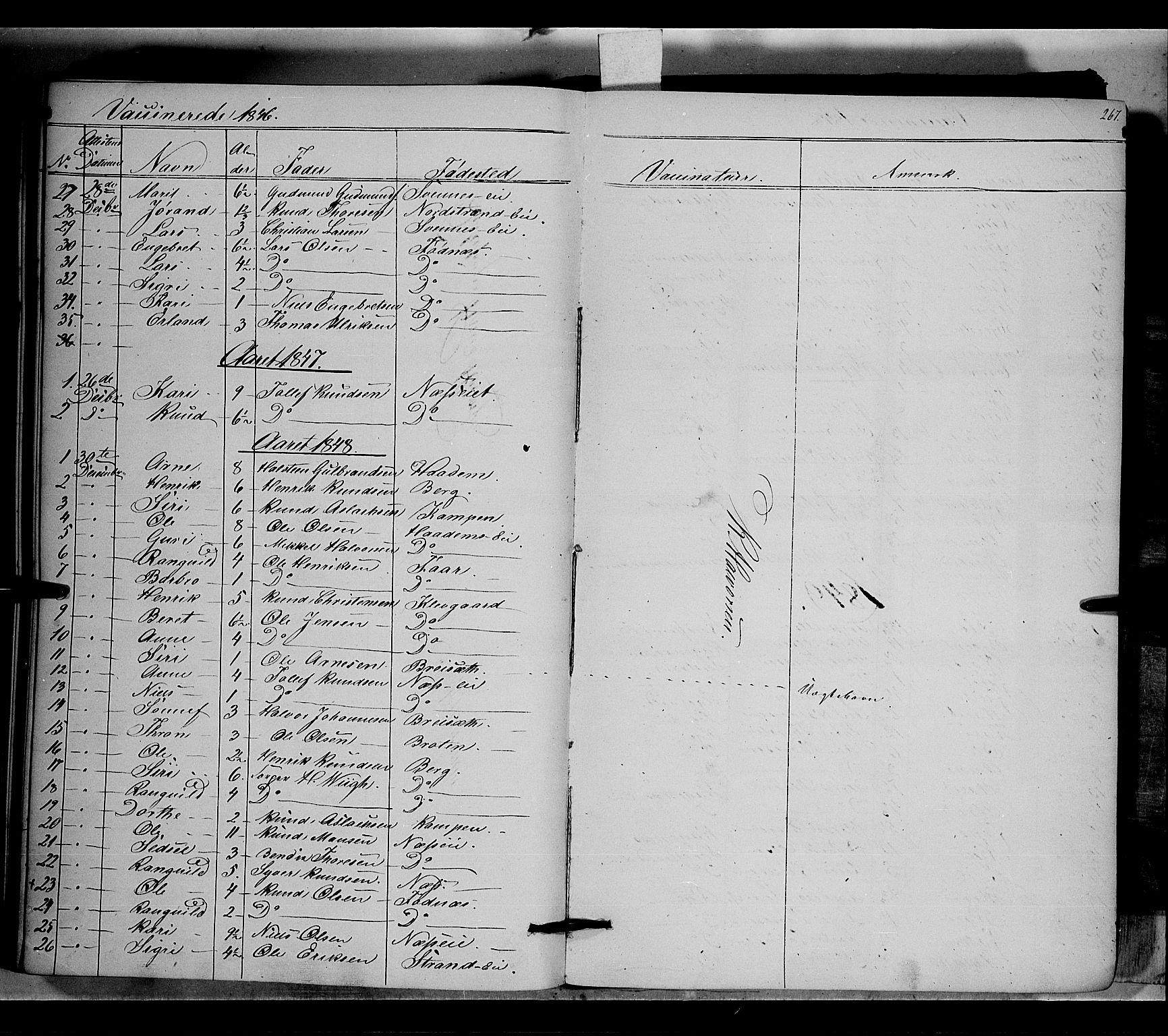 SAH, Nord-Aurdal prestekontor, Ministerialbok nr. 5, 1842-1863, s. 267