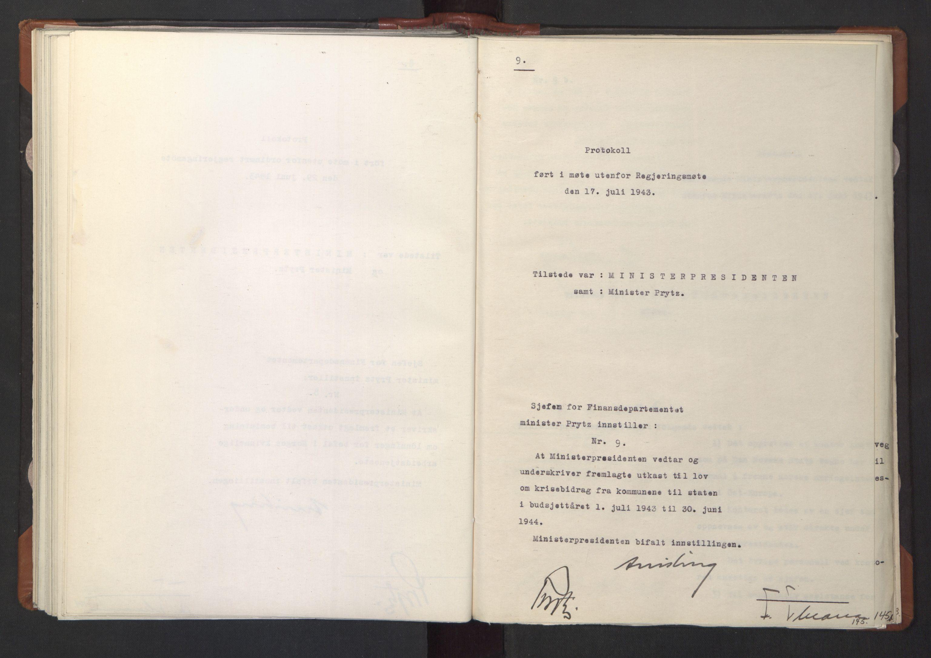 RA, NS-administrasjonen 1940-1945 (Statsrådsekretariatet, de kommisariske statsråder mm), D/Da/L0003: Vedtak (Beslutninger) nr. 1-746 og tillegg nr. 1-47 (RA. j.nr. 1394/1944, tilgangsnr. 8/1944, 1943, s. 145a