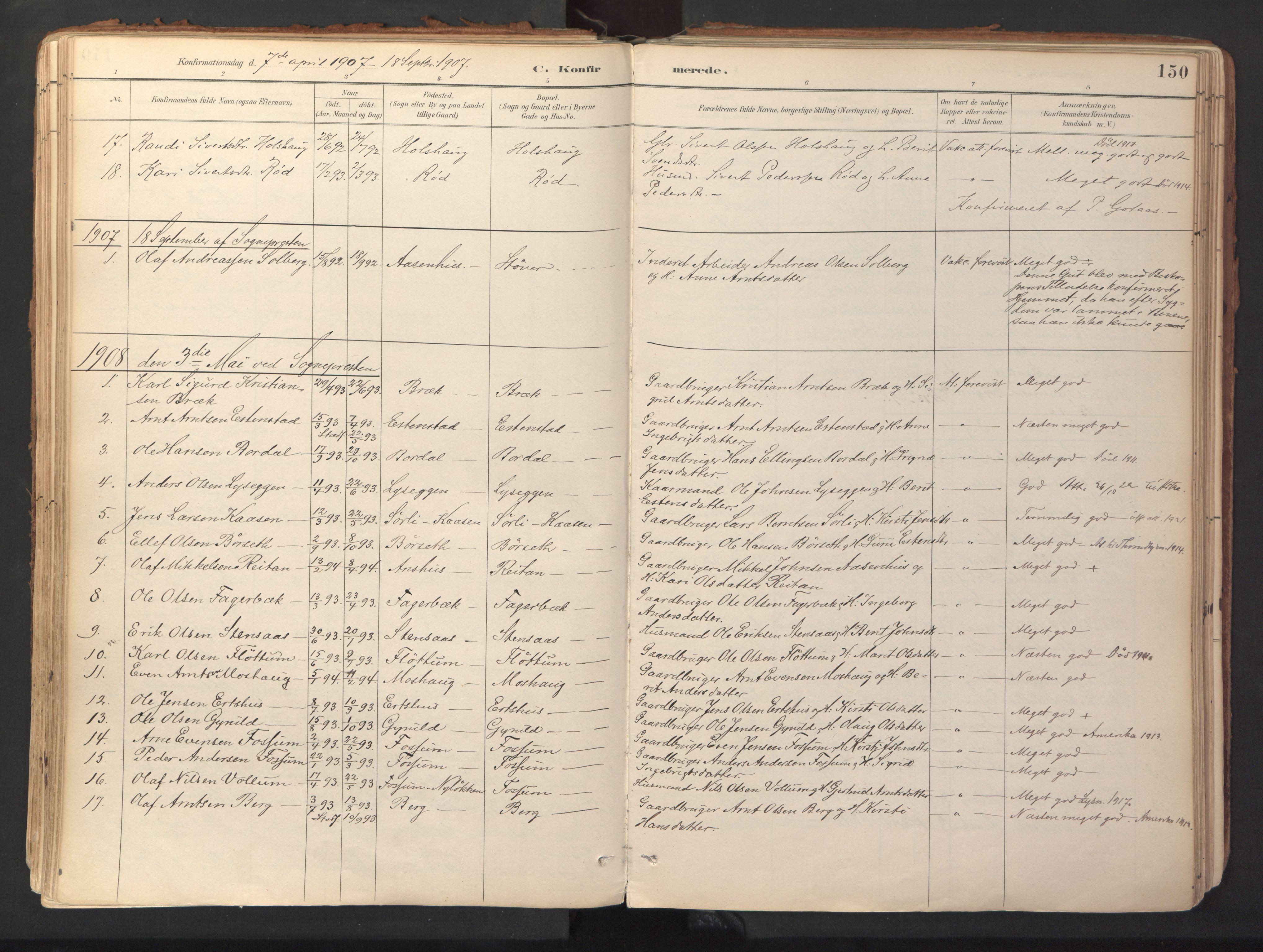 SAT, Ministerialprotokoller, klokkerbøker og fødselsregistre - Sør-Trøndelag, 689/L1041: Ministerialbok nr. 689A06, 1891-1923, s. 150