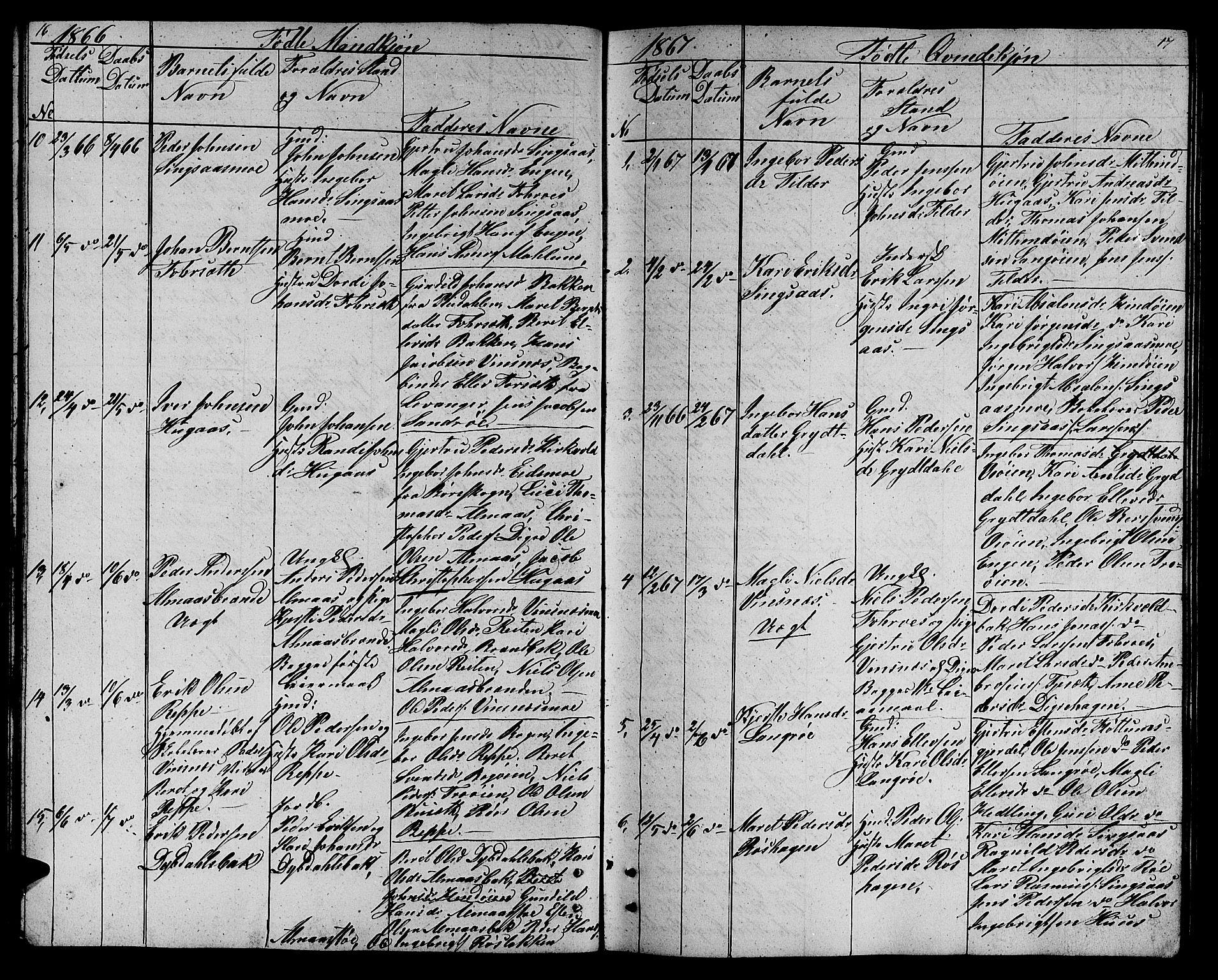 SAT, Ministerialprotokoller, klokkerbøker og fødselsregistre - Sør-Trøndelag, 688/L1027: Klokkerbok nr. 688C02, 1861-1889, s. 16-17