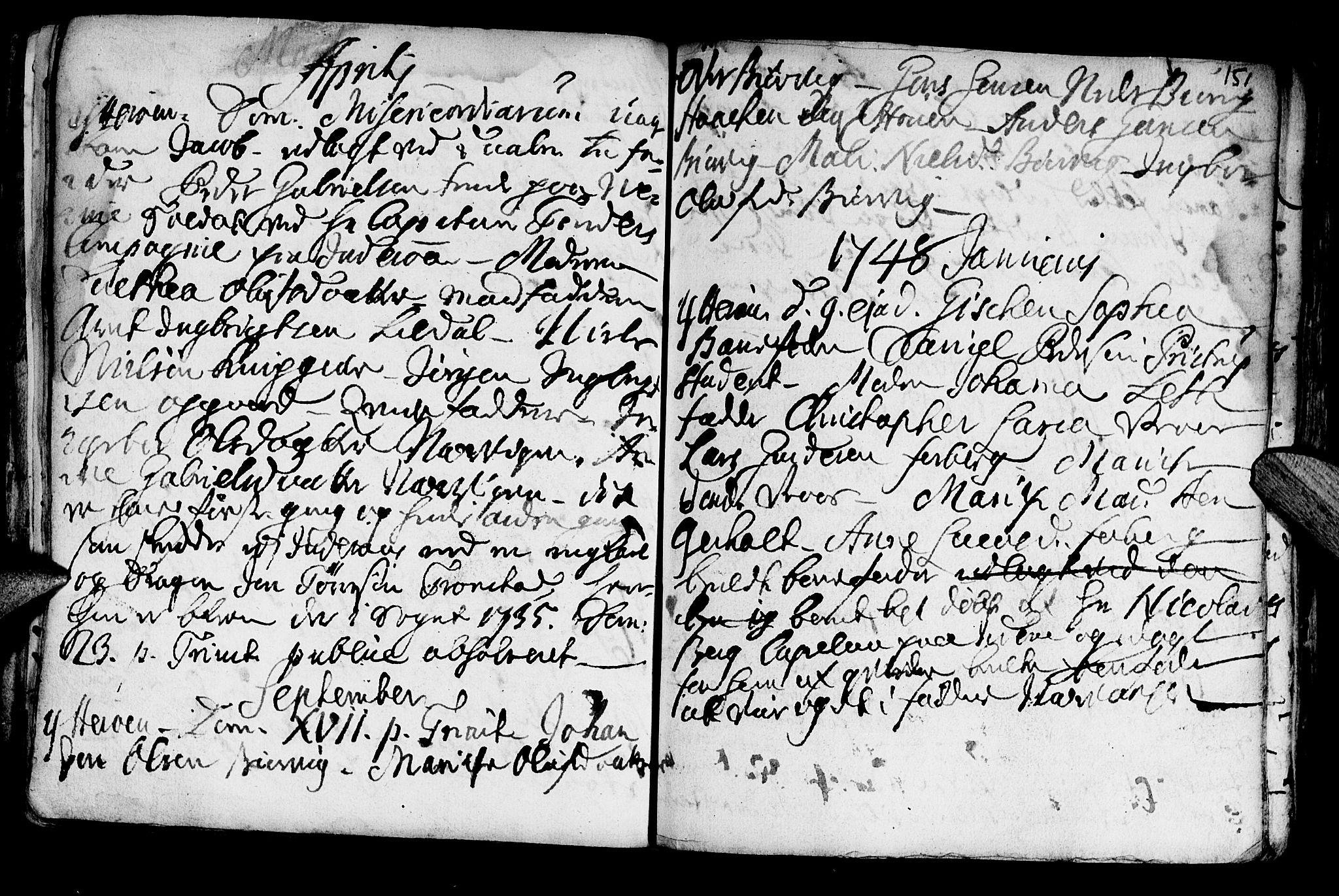 SAT, Ministerialprotokoller, klokkerbøker og fødselsregistre - Nord-Trøndelag, 722/L0215: Ministerialbok nr. 722A02, 1718-1755, s. 151
