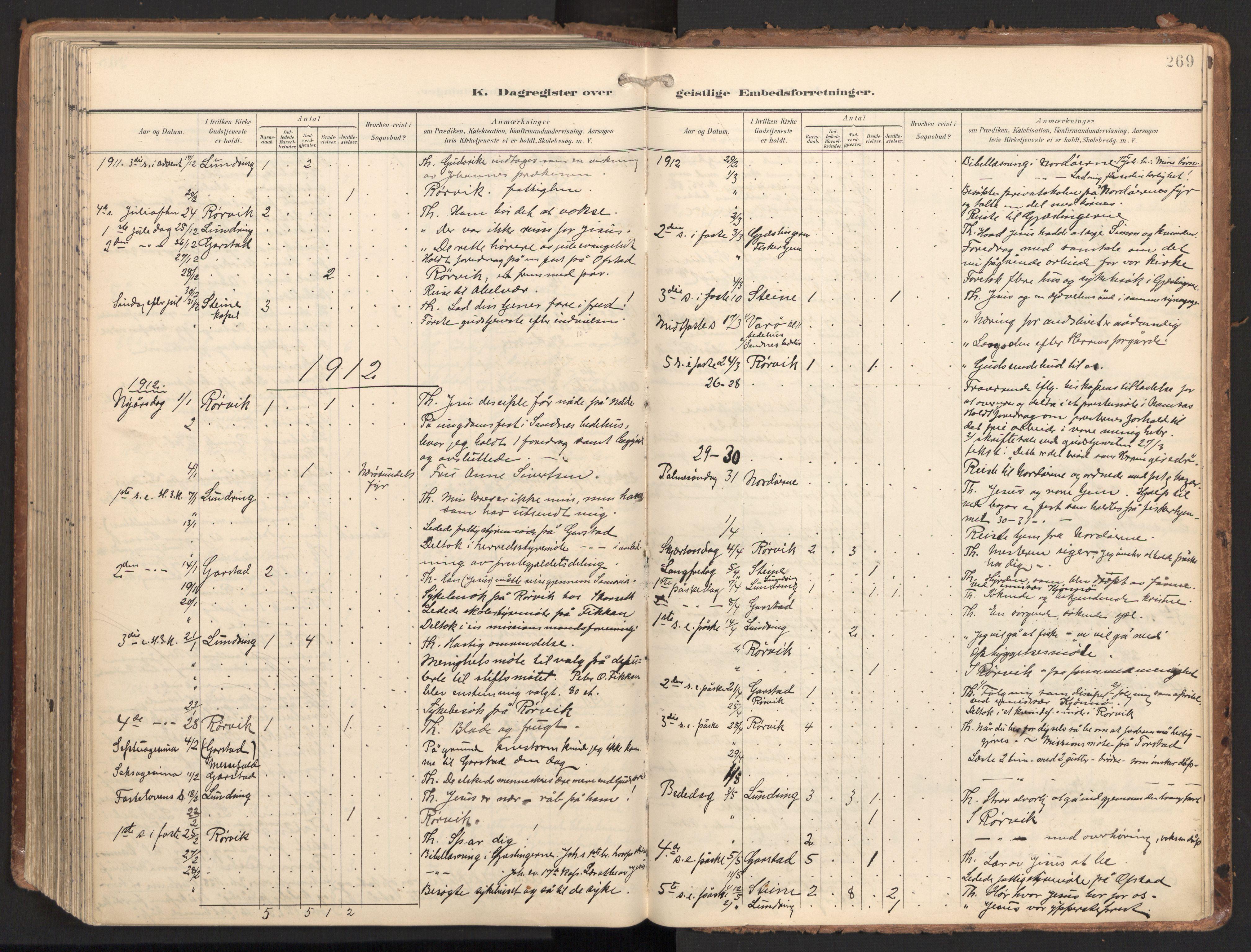SAT, Ministerialprotokoller, klokkerbøker og fødselsregistre - Nord-Trøndelag, 784/L0677: Ministerialbok nr. 784A12, 1900-1920, s. 269