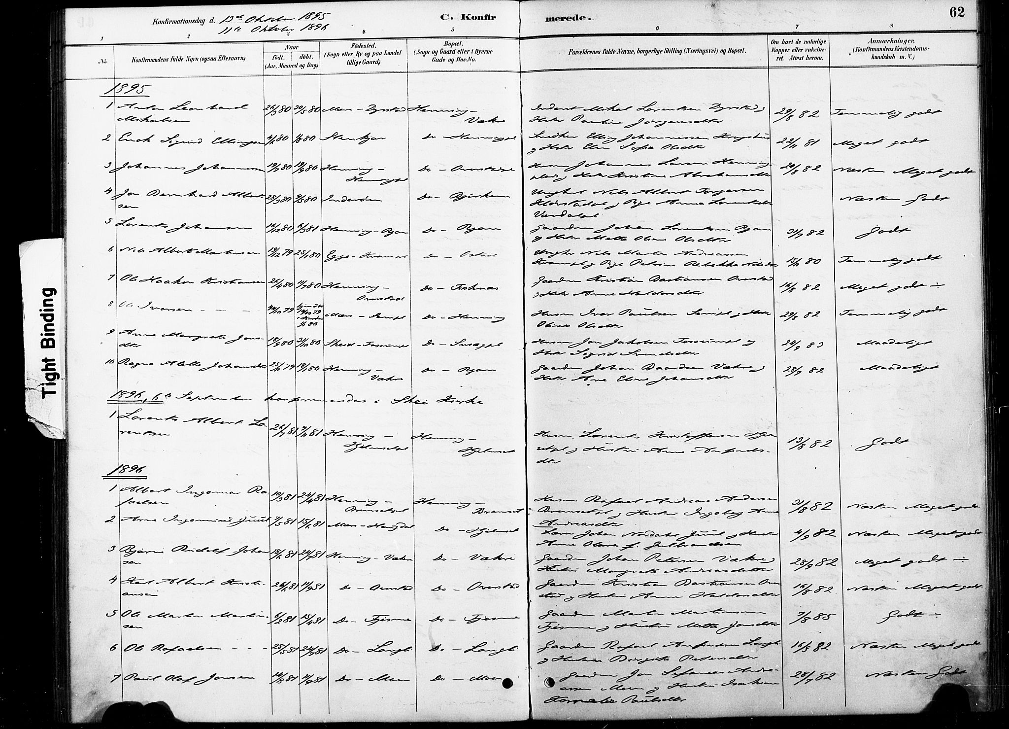 SAT, Ministerialprotokoller, klokkerbøker og fødselsregistre - Nord-Trøndelag, 738/L0364: Ministerialbok nr. 738A01, 1884-1902, s. 62