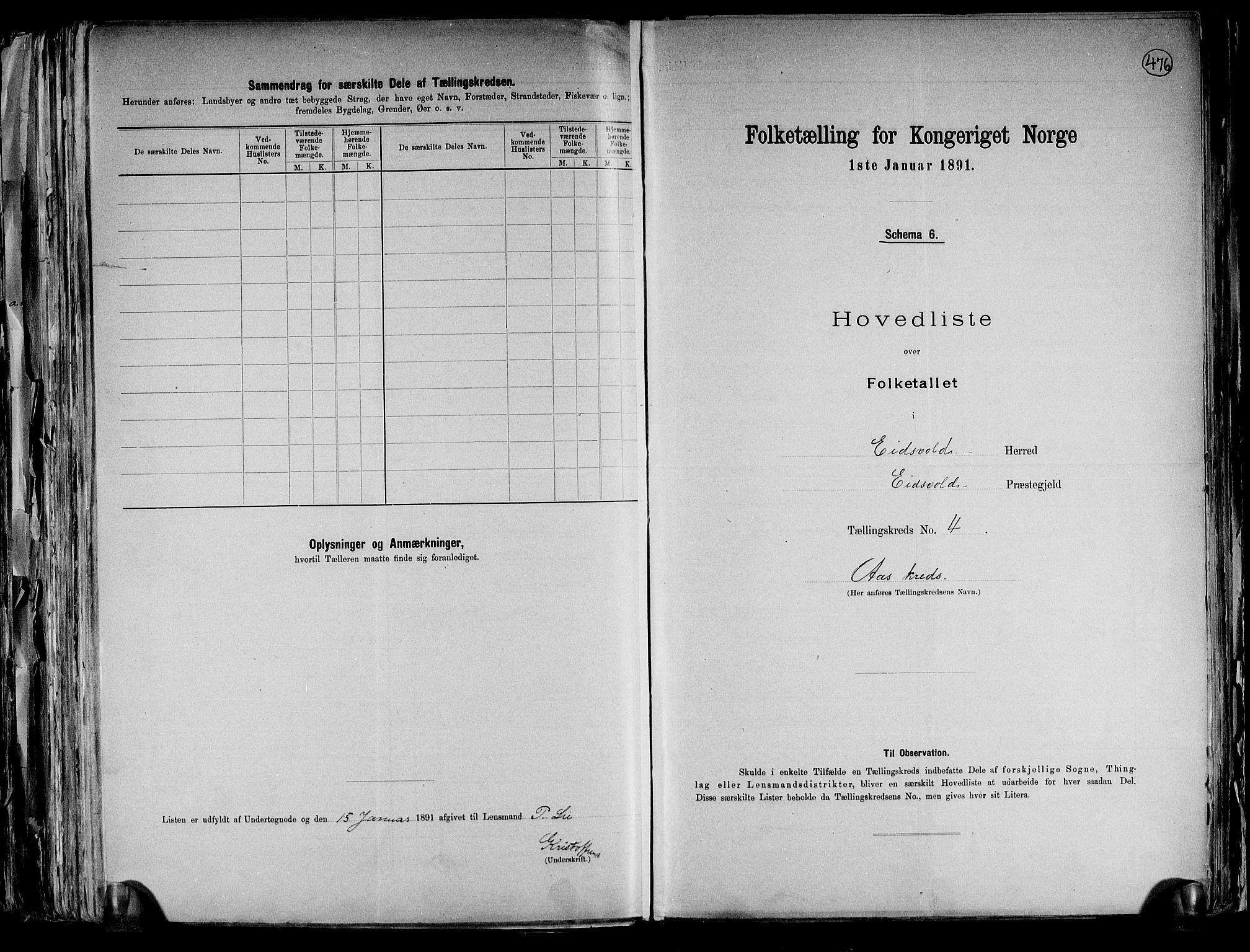 RA, Folketelling 1891 for 0237 Eidsvoll herred, 1891, s. 13