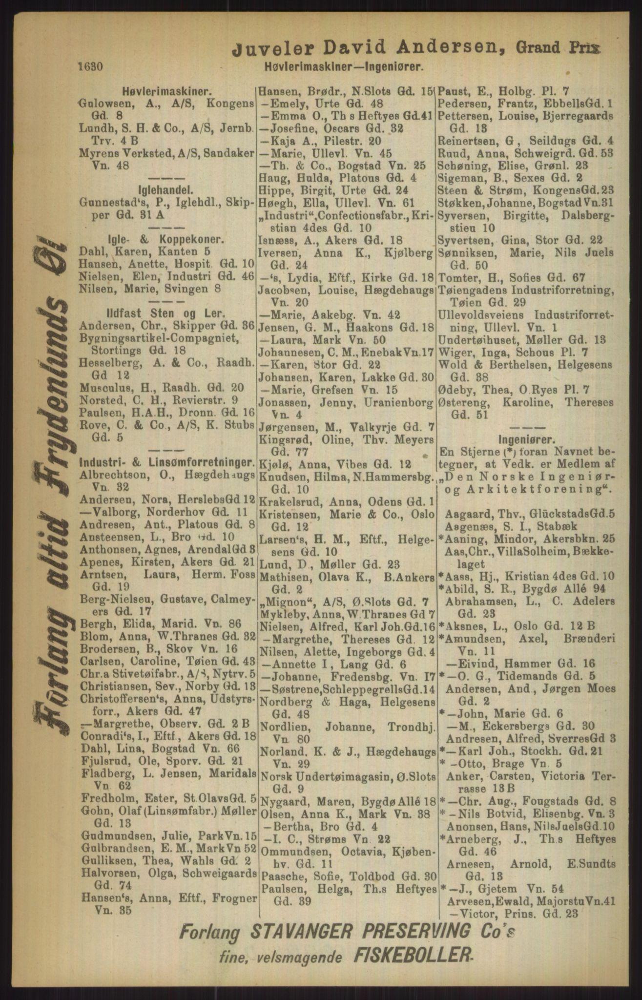 RA, Kristiania adressebok (publikasjon)*, 1911, s. 1630