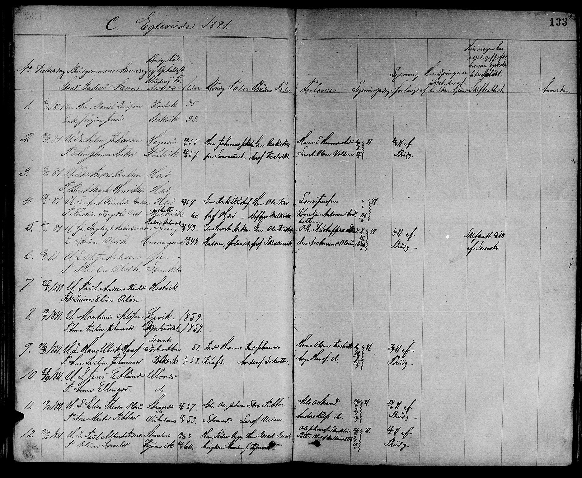 SAT, Ministerialprotokoller, klokkerbøker og fødselsregistre - Sør-Trøndelag, 637/L0561: Klokkerbok nr. 637C02, 1873-1882, s. 133