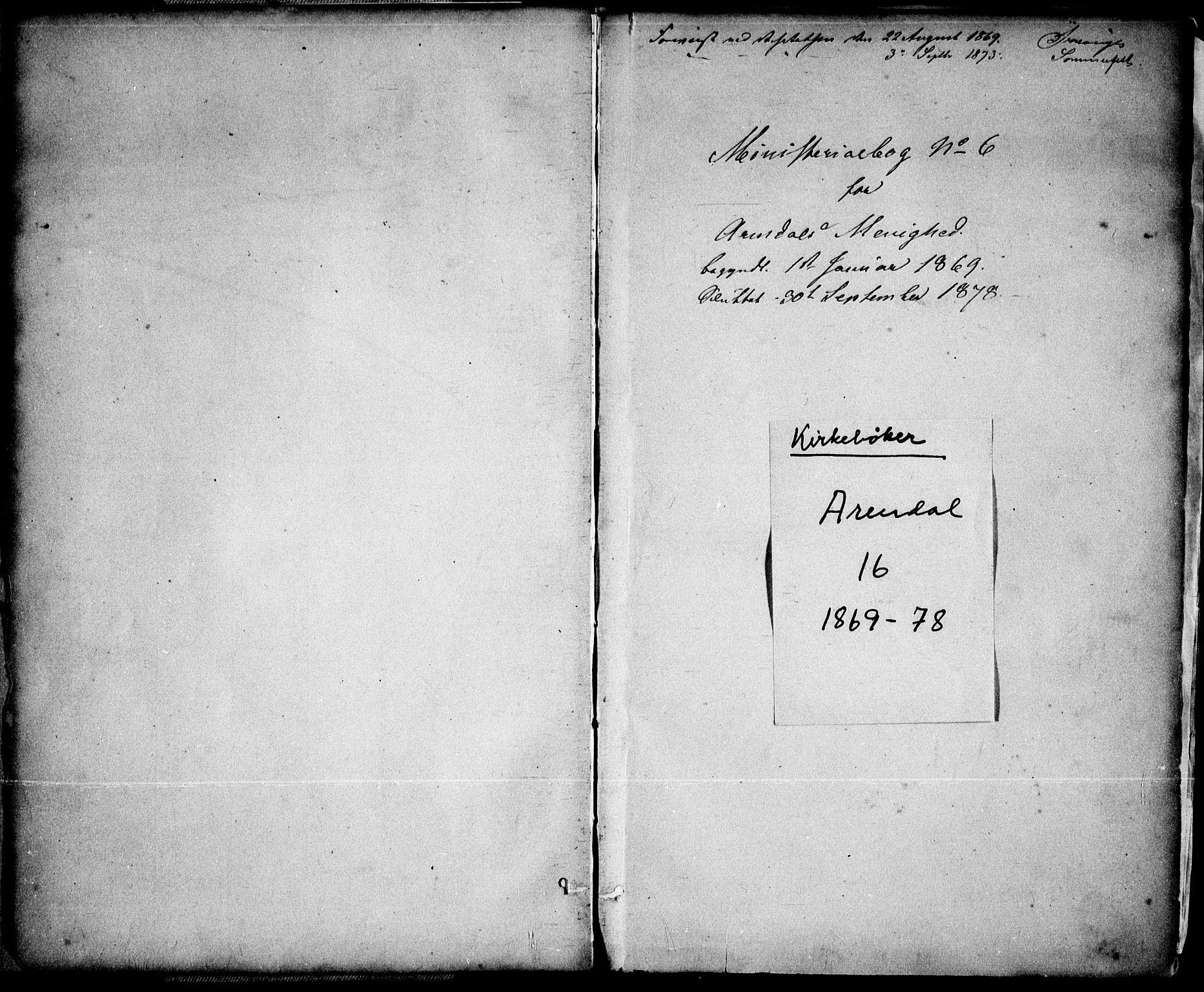 SAK, Arendal sokneprestkontor, Trefoldighet, F/Fa/L0007: Ministerialbok nr. A 7, 1868-1878