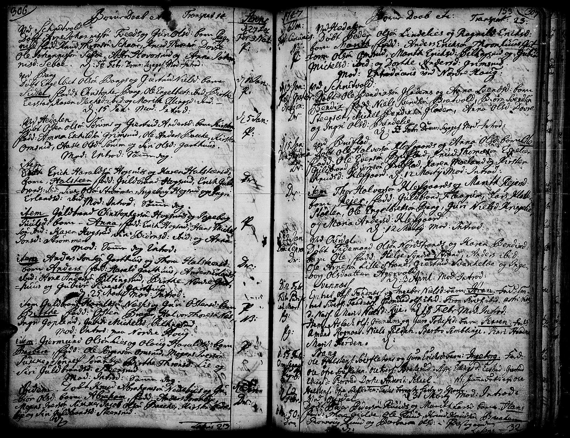 SAH, Aurdal prestekontor, Ministerialbok nr. 4, 1730-1762, s. 306-307
