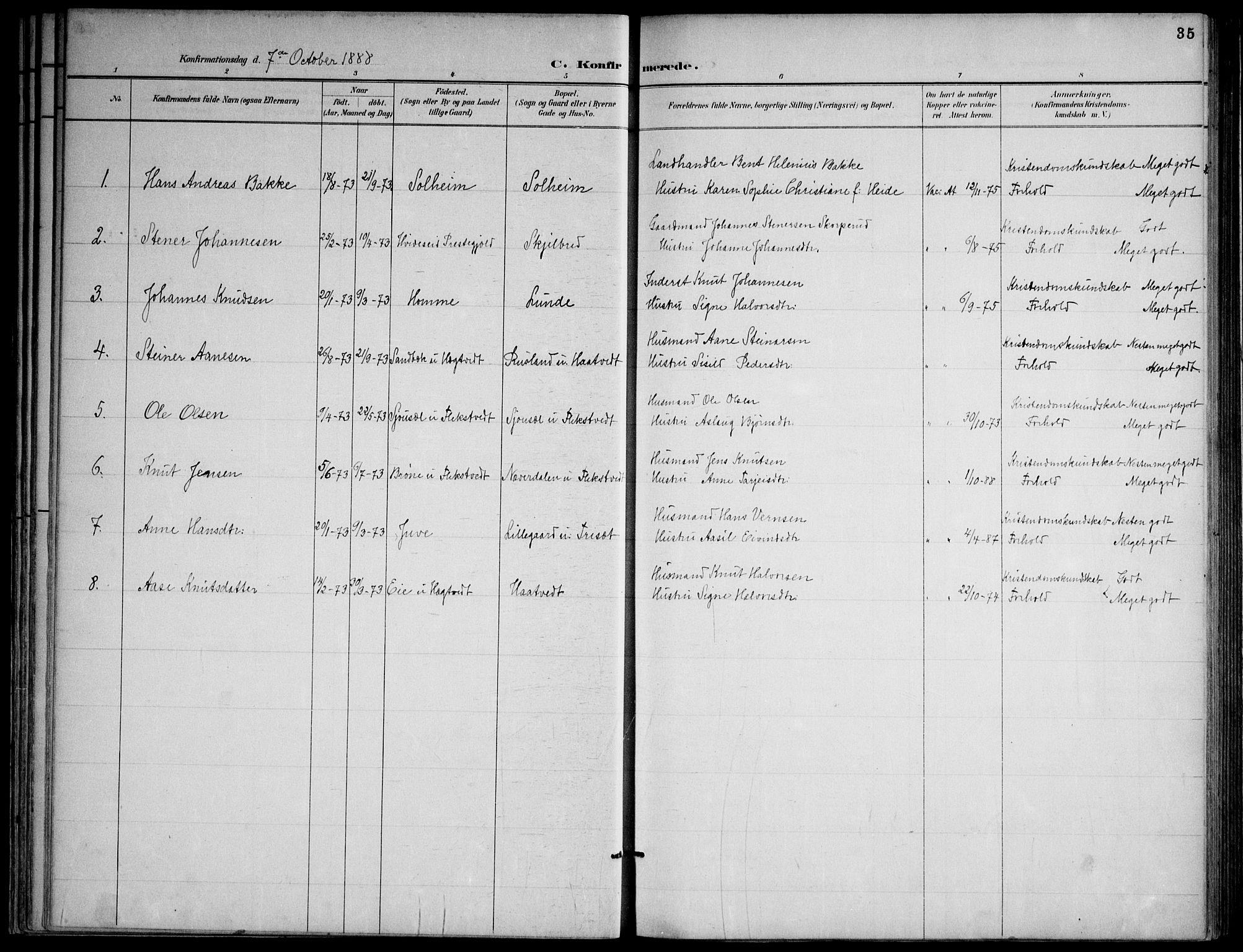 SAKO, Lårdal kirkebøker, F/Fa/L0007: Ministerialbok nr. I 7, 1887-1906, s. 35