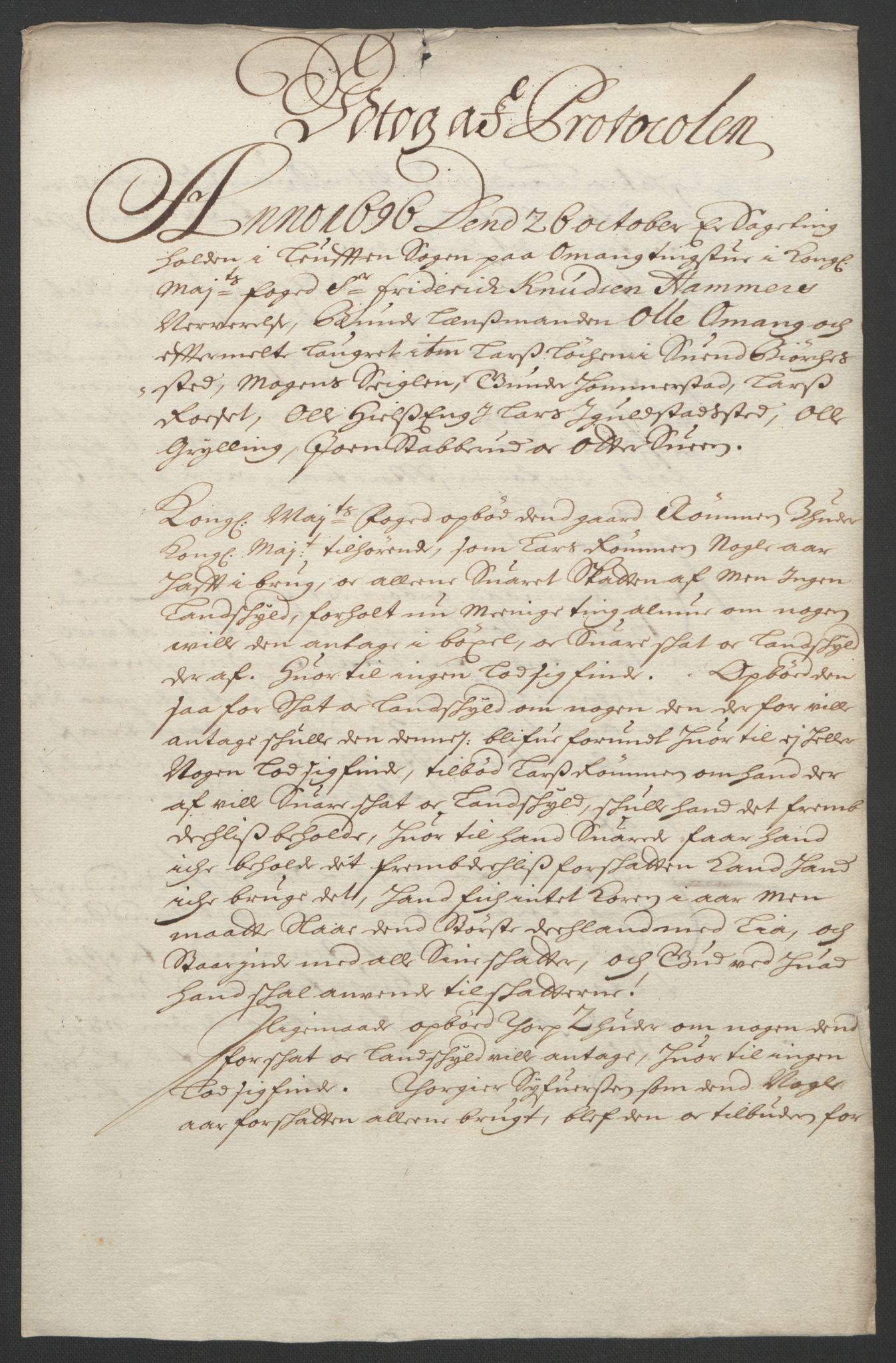 RA, Rentekammeret inntil 1814, Reviderte regnskaper, Fogderegnskap, R16/L1036: Fogderegnskap Hedmark, 1695-1696, s. 429