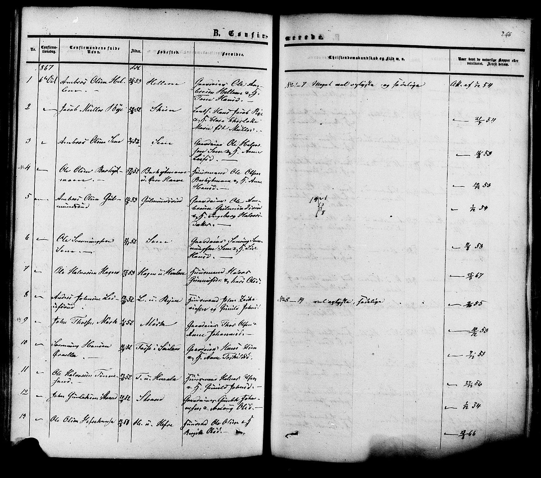 SAKO, Heddal kirkebøker, F/Fa/L0007: Ministerialbok nr. I 7, 1855-1877, s. 266