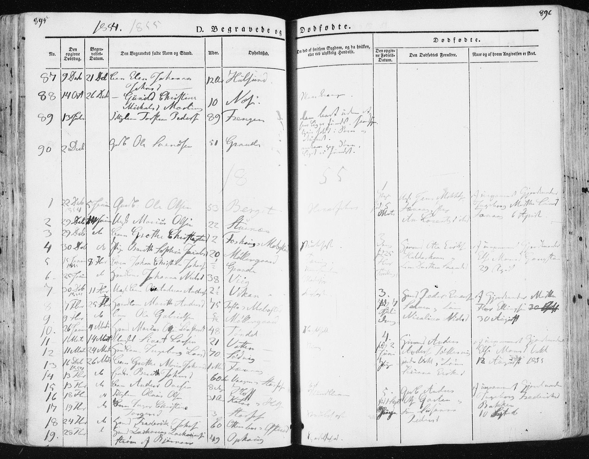 SAT, Ministerialprotokoller, klokkerbøker og fødselsregistre - Sør-Trøndelag, 659/L0736: Ministerialbok nr. 659A06, 1842-1856, s. 895-896