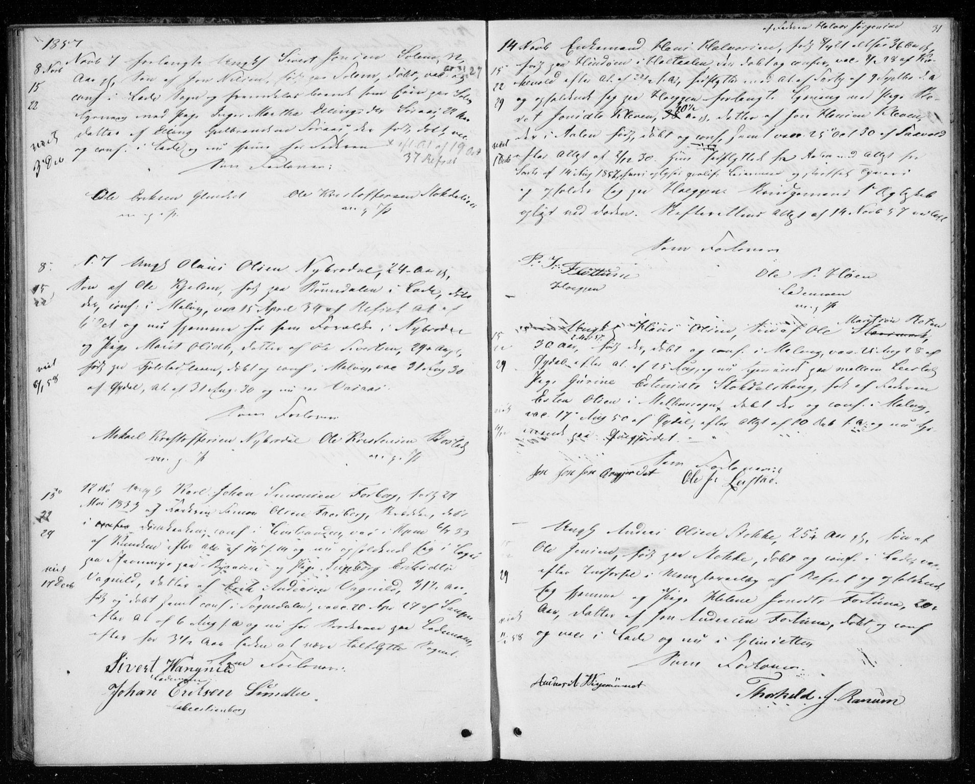 SAT, Ministerialprotokoller, klokkerbøker og fødselsregistre - Sør-Trøndelag, 606/L0297: Lysningsprotokoll nr. 606A12, 1854-1861, s. 31