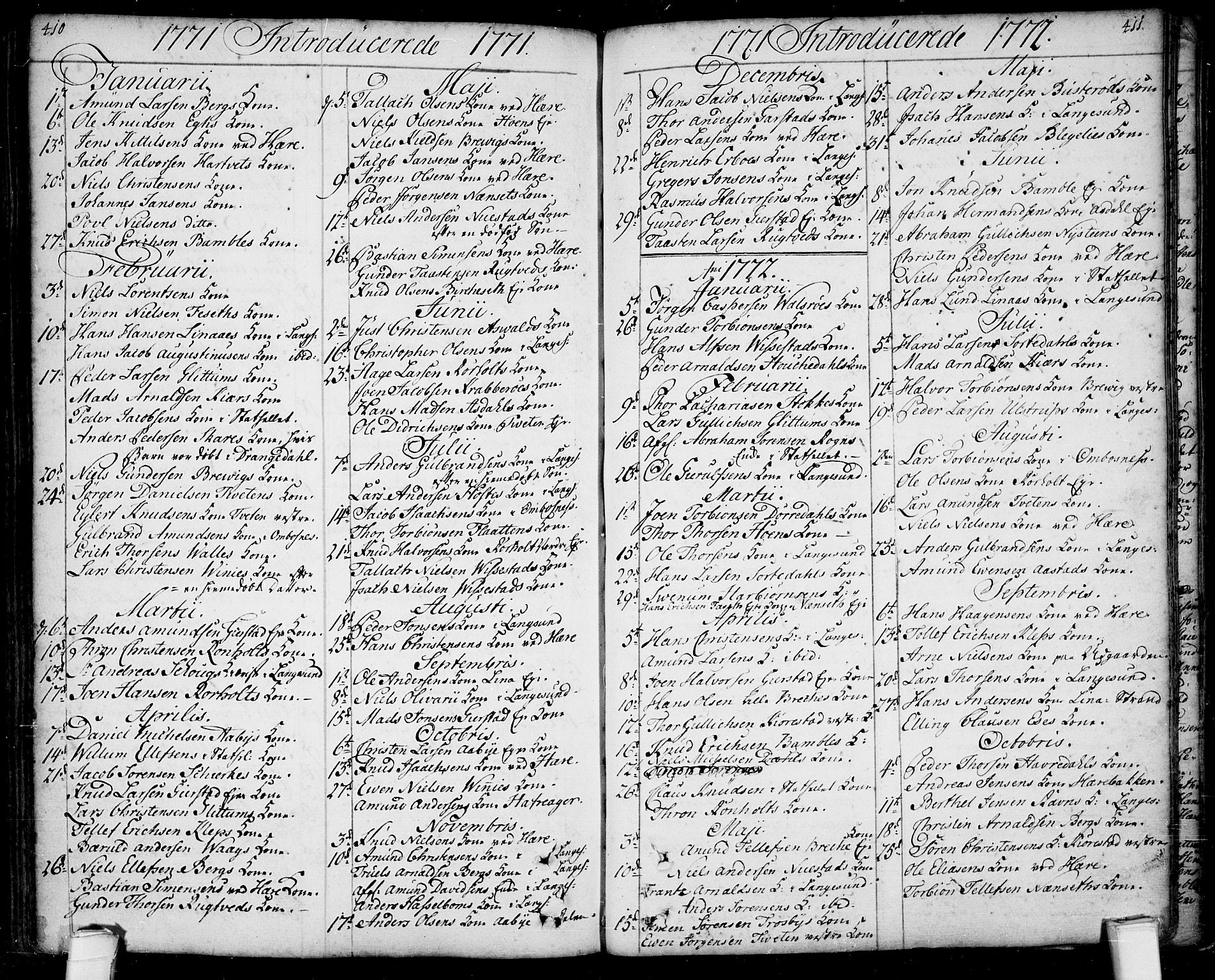 SAKO, Bamble kirkebøker, F/Fa/L0001: Ministerialbok nr. I 1, 1702-1774, s. 410-411