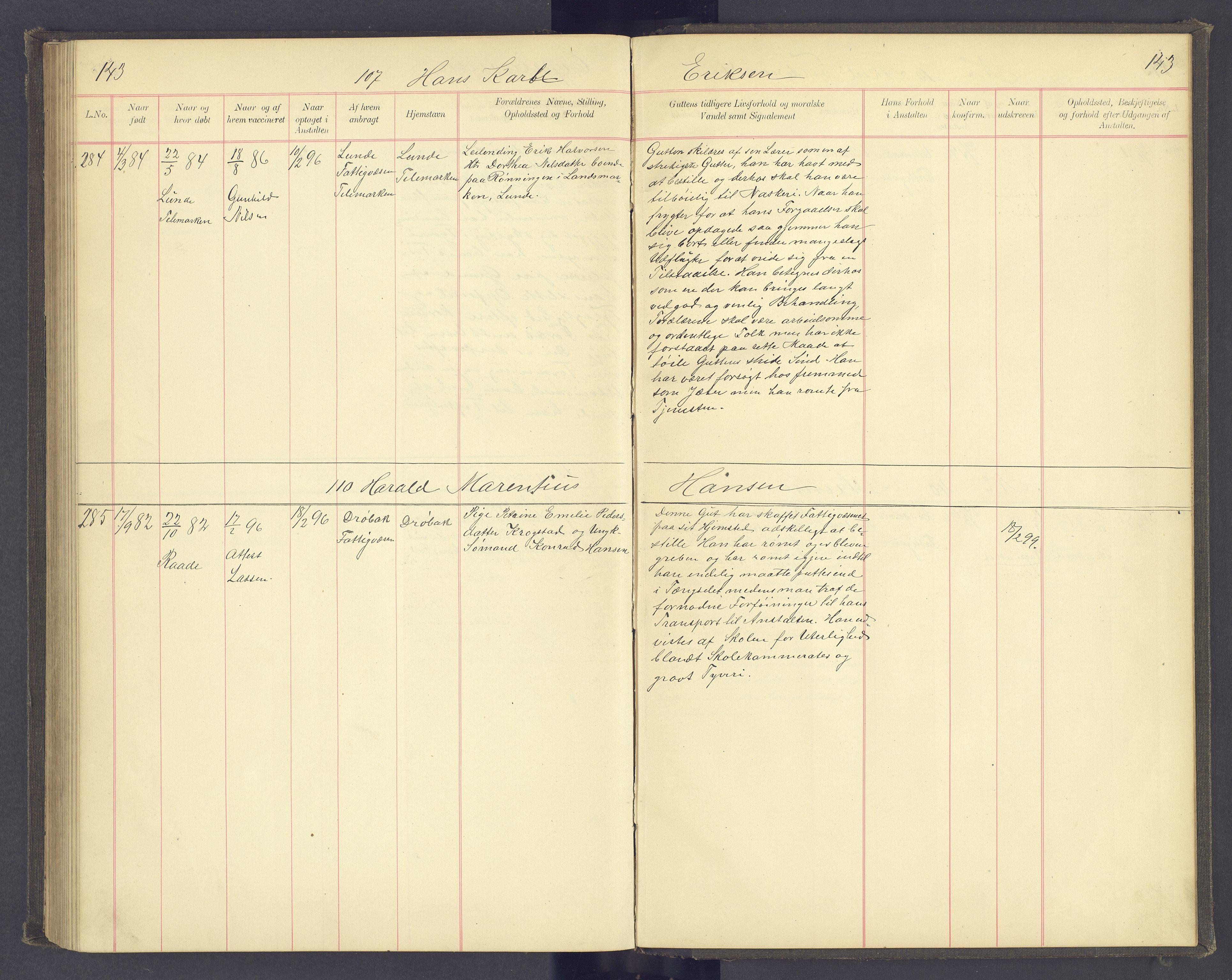SAH, Toftes Gave, F/Fc/L0004: Elevprotokoll, 1885-1897, s. 143