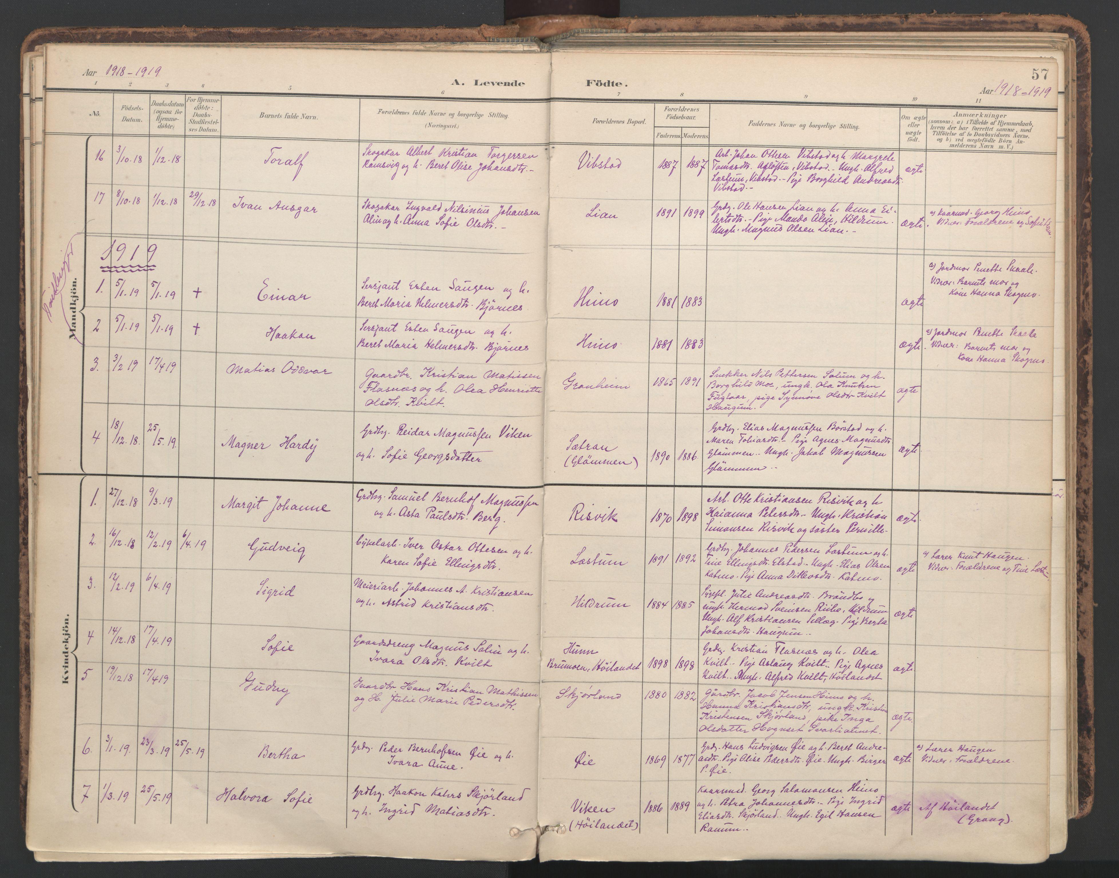 SAT, Ministerialprotokoller, klokkerbøker og fødselsregistre - Nord-Trøndelag, 764/L0556: Ministerialbok nr. 764A11, 1897-1924, s. 57