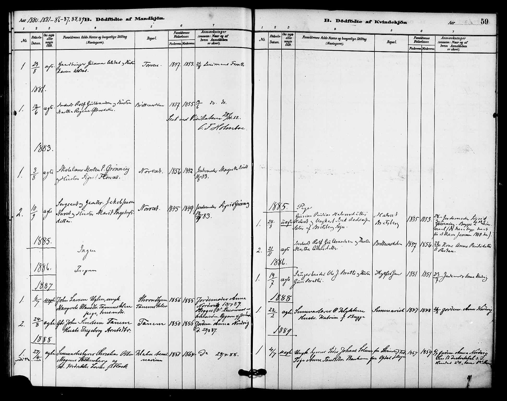 SAT, Ministerialprotokoller, klokkerbøker og fødselsregistre - Sør-Trøndelag, 618/L0444: Ministerialbok nr. 618A07, 1880-1898, s. 59