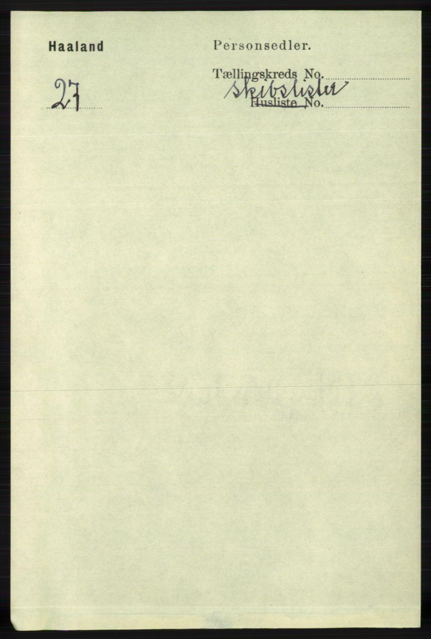 RA, Folketelling 1891 for 1124 Haaland herred, 1891, s. 4085