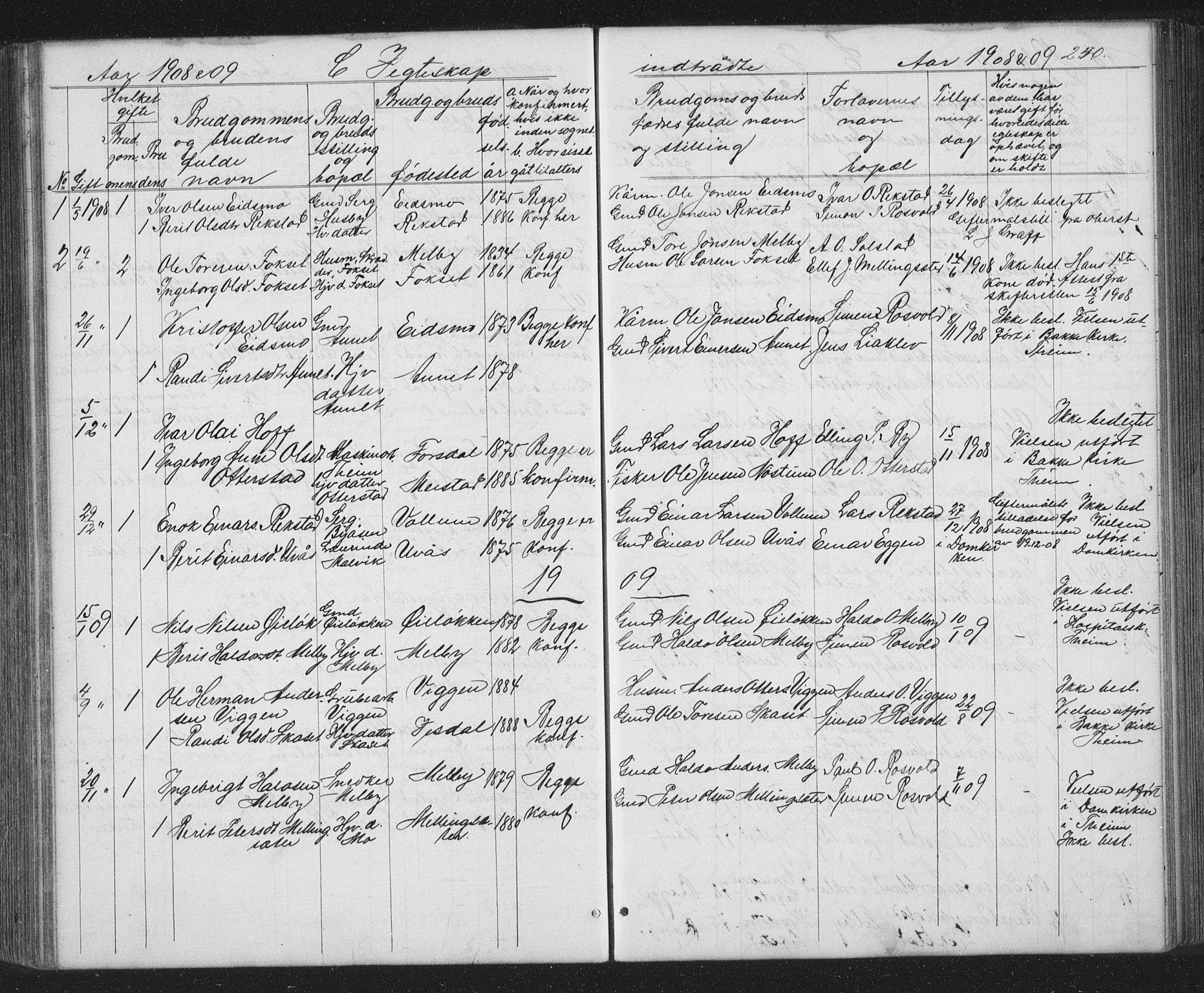 SAT, Ministerialprotokoller, klokkerbøker og fødselsregistre - Sør-Trøndelag, 667/L0798: Klokkerbok nr. 667C03, 1867-1929, s. 250