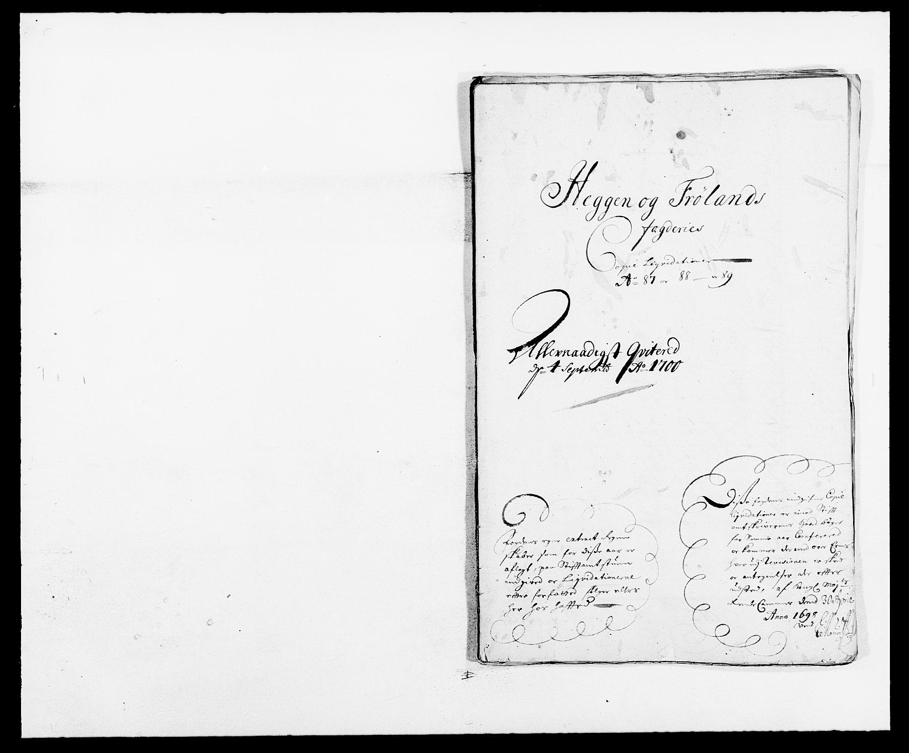 RA, Rentekammeret inntil 1814, Reviderte regnskaper, Fogderegnskap, R06/L0282: Fogderegnskap Heggen og Frøland, 1687-1690, s. 186