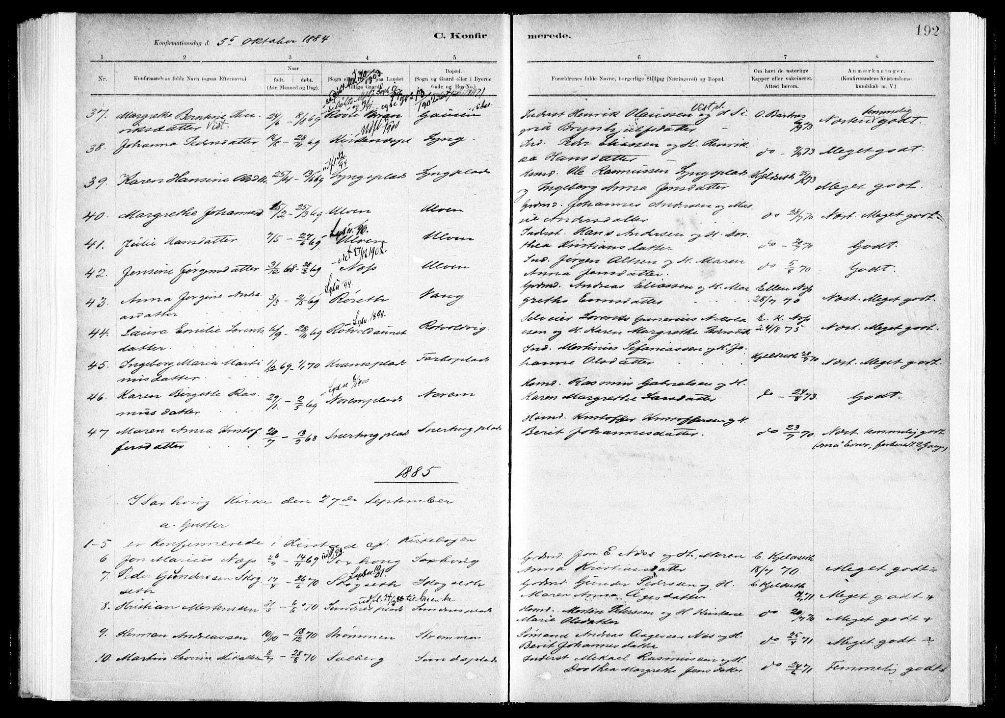 SAT, Ministerialprotokoller, klokkerbøker og fødselsregistre - Nord-Trøndelag, 730/L0285: Ministerialbok nr. 730A10, 1879-1914, s. 192