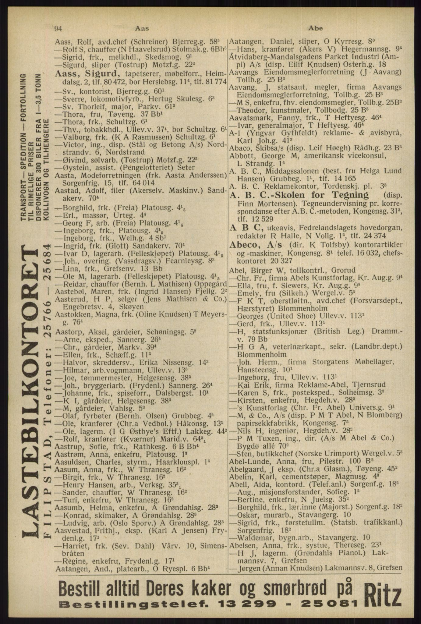 RA, Oslo adressebok (publikasjon)*, 1934, s. 94