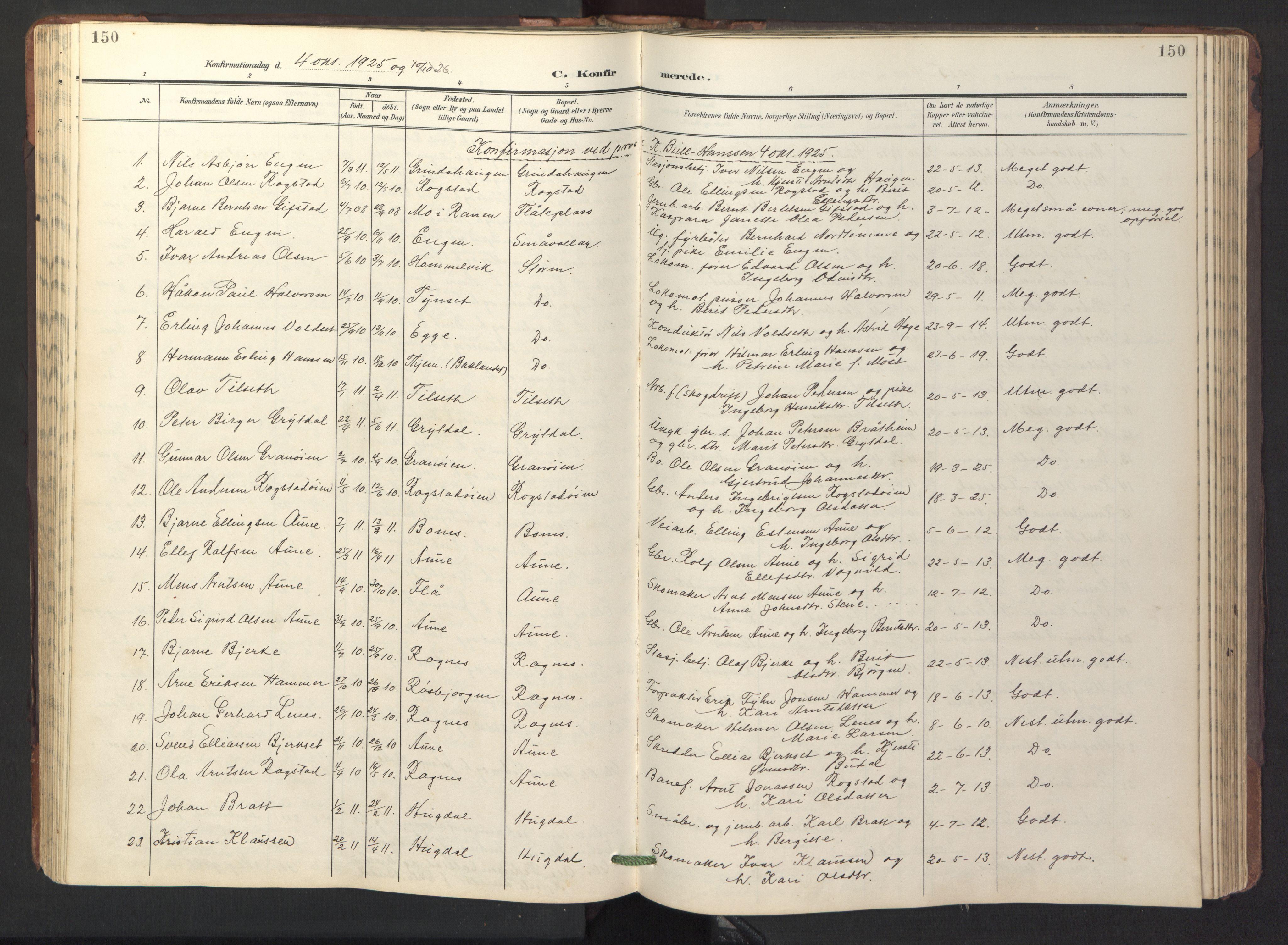 SAT, Ministerialprotokoller, klokkerbøker og fødselsregistre - Sør-Trøndelag, 687/L1019: Klokkerbok nr. 687C03, 1904-1931, s. 150