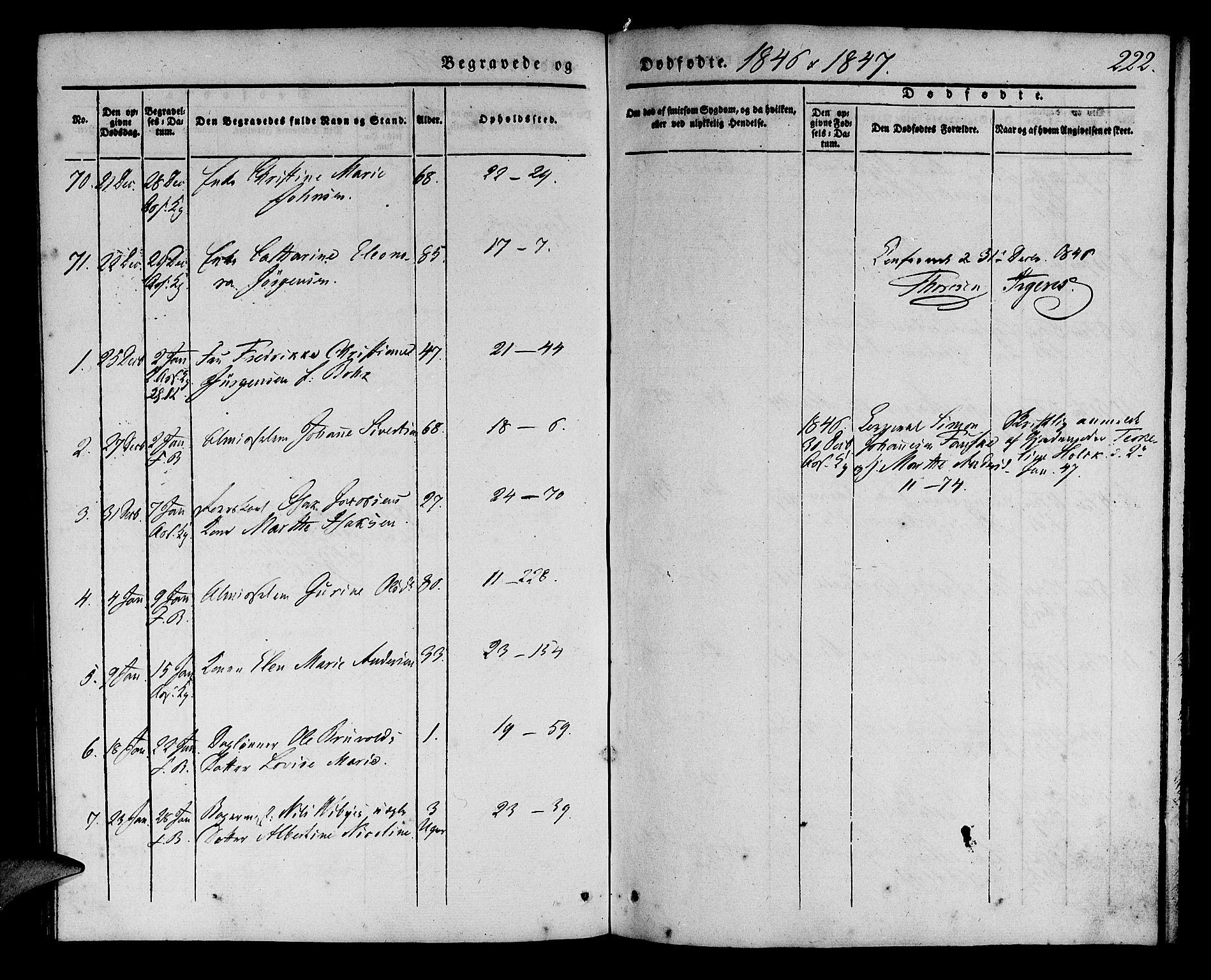 SAB, Korskirken Sokneprestembete, H/Haa/L0043: Ministerialbok nr. E 1, 1834-1848, s. 222