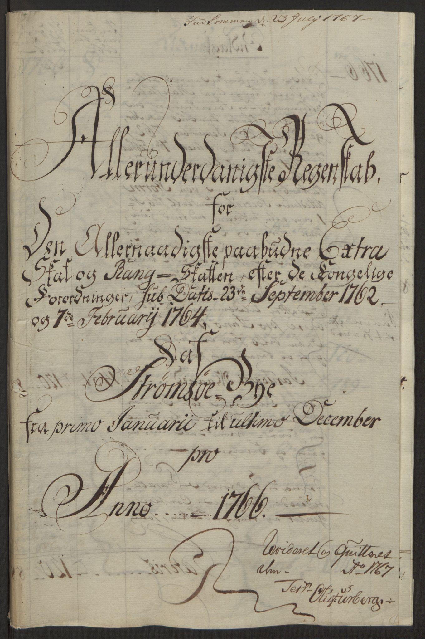 RA, Rentekammeret inntil 1814, Reviderte regnskaper, Byregnskaper, R/Rg/L0144: [G4] Kontribusjonsregnskap, 1762-1767, s. 412