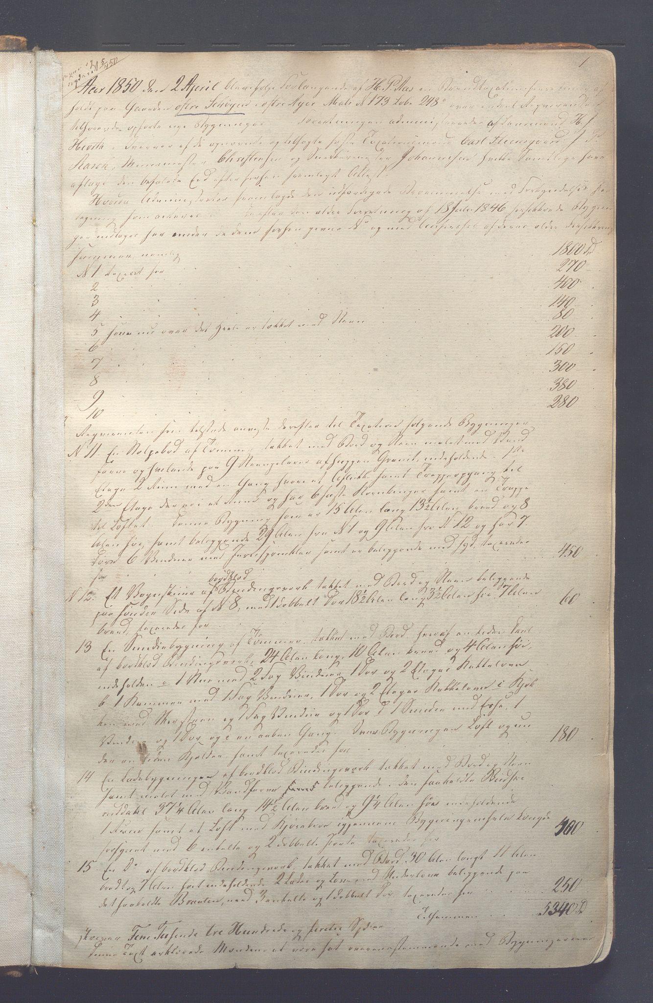 OBA, Lensmennene i Aker, F/Fc/L0001: Branntakstprotokoll, 1850-1871, s. 1a