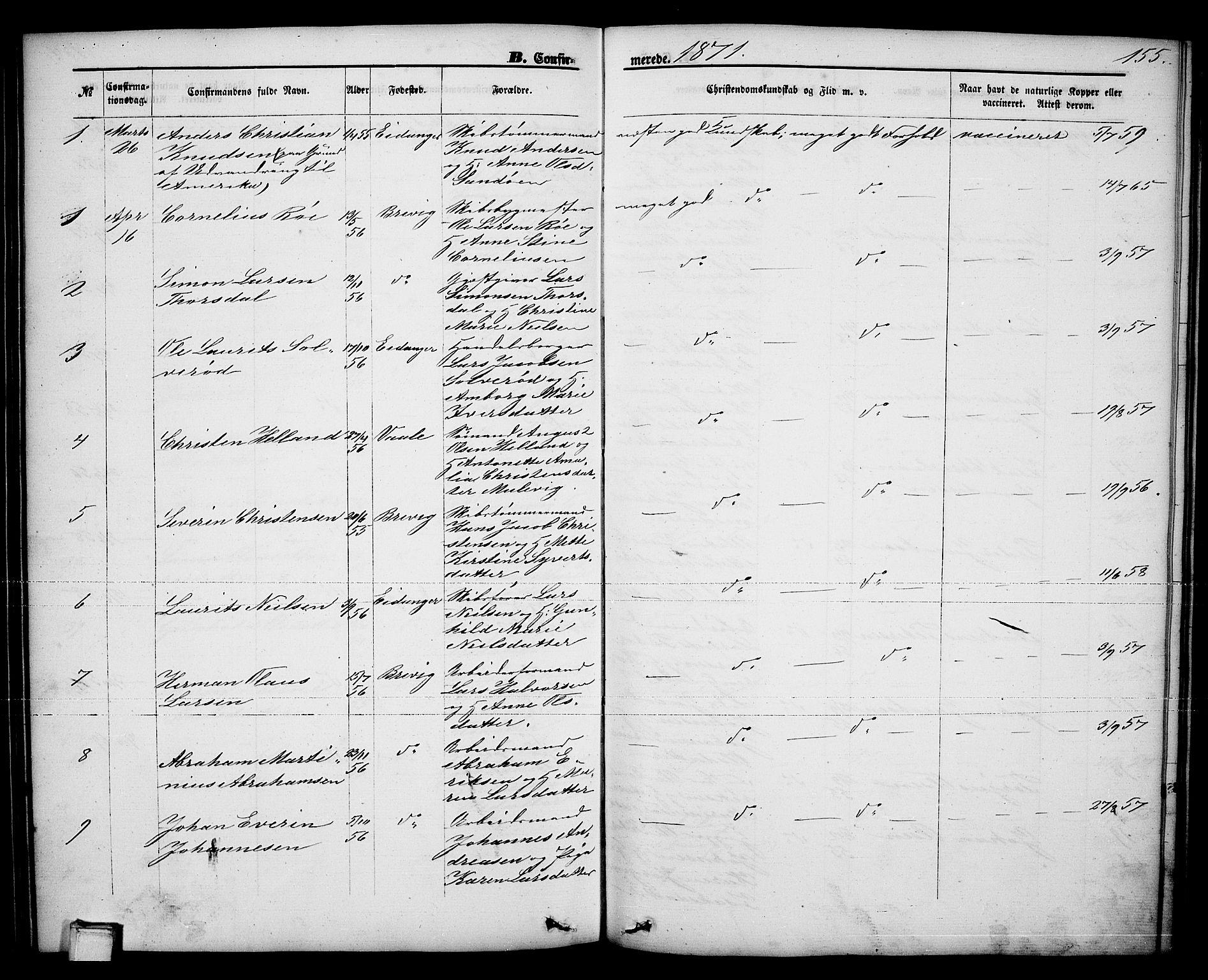 SAKO, Brevik kirkebøker, G/Ga/L0003: Klokkerbok nr. 3, 1866-1881, s. 155
